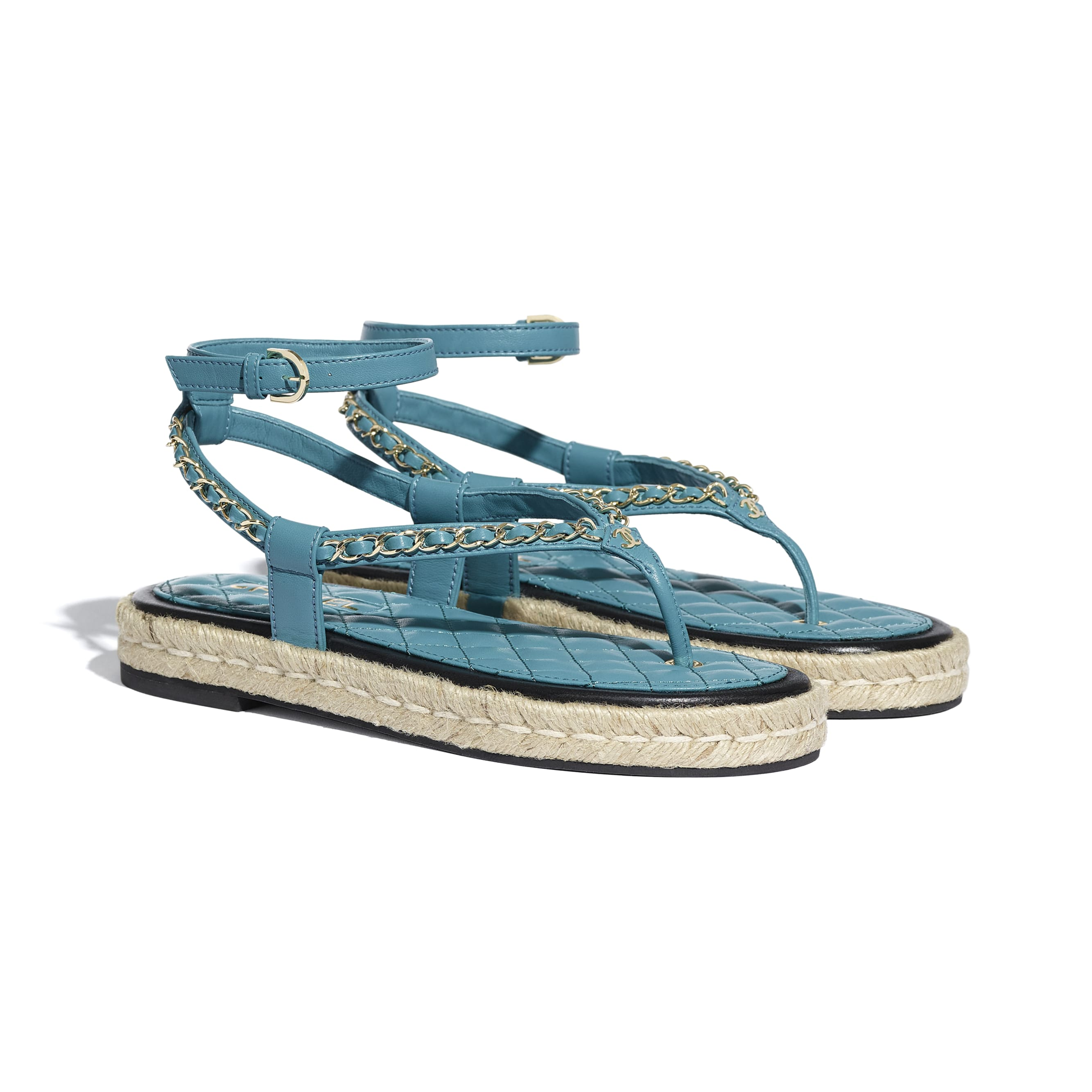 Sandals - Turquoise - Lambskin - CHANEL - Alternative view - see standard sized version