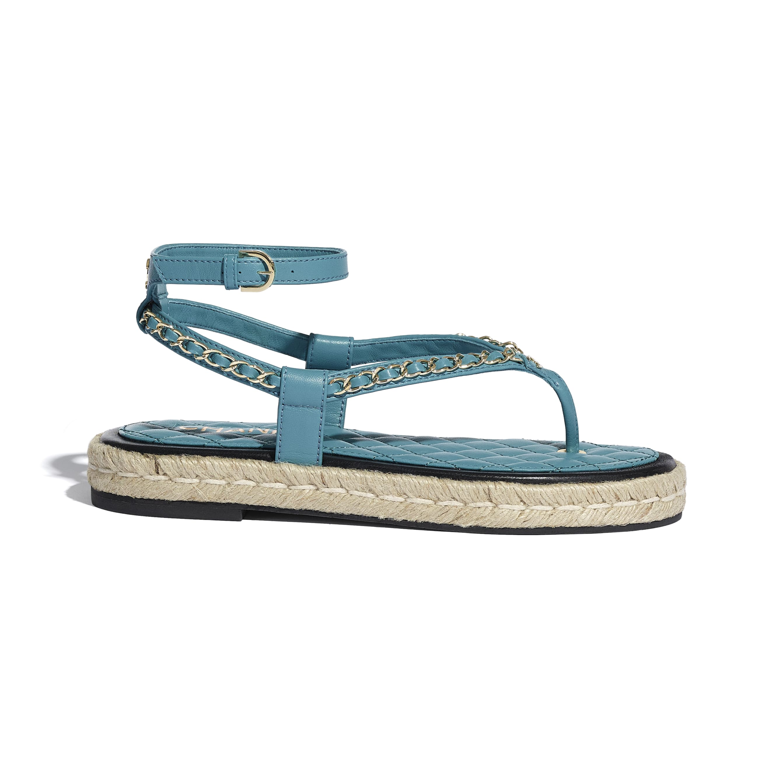 Sandals - Turquoise - Lambskin - CHANEL - Default view - see standard sized version