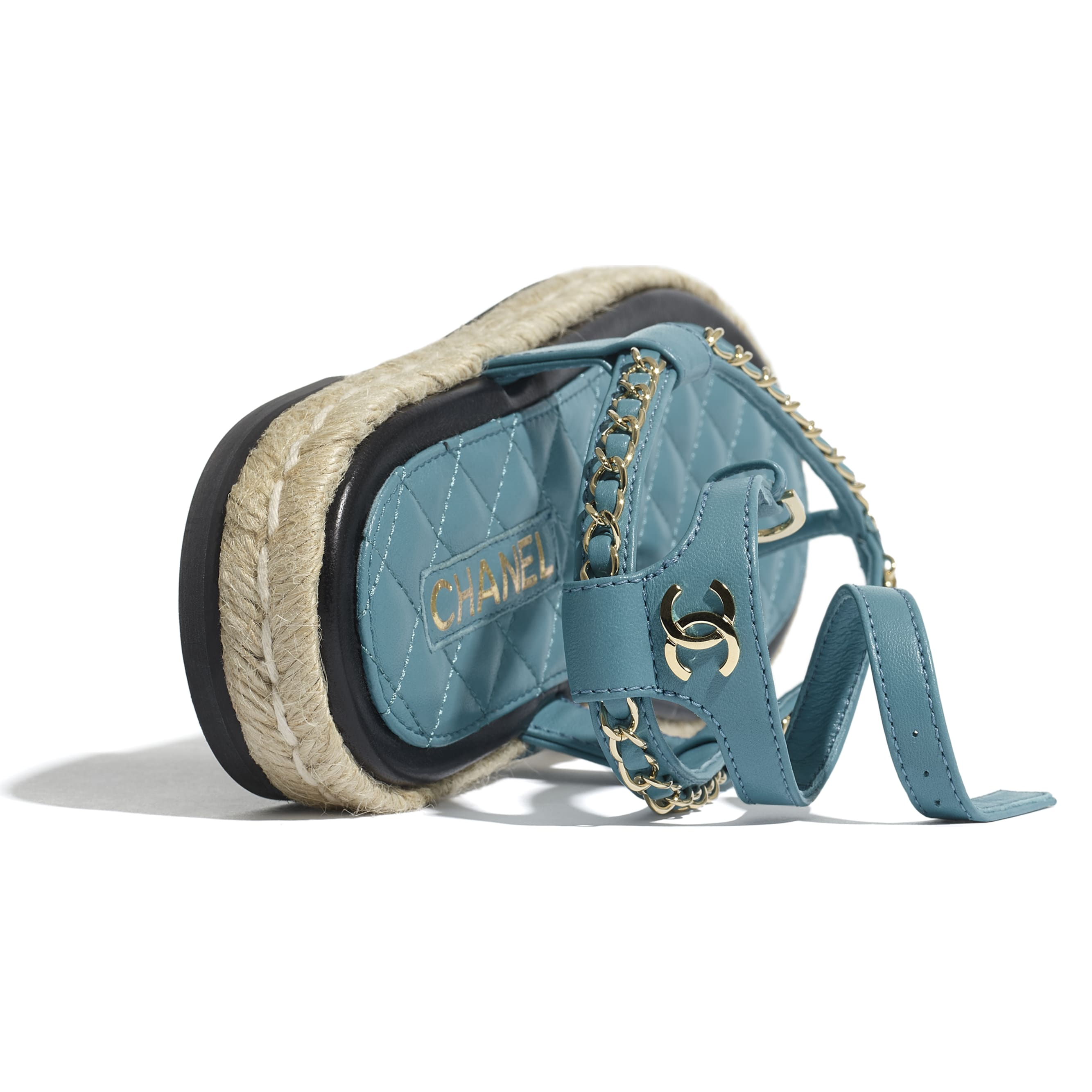 Sandals - Turquoise - Lambskin - CHANEL - Extra view - see standard sized version