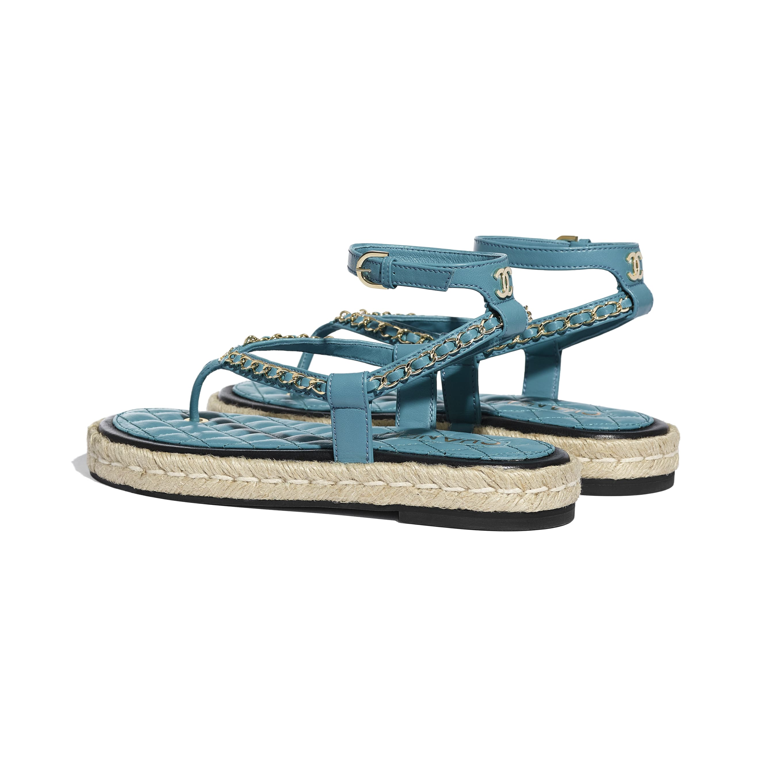 Sandals - Turquoise - Lambskin - CHANEL - Other view - see standard sized version