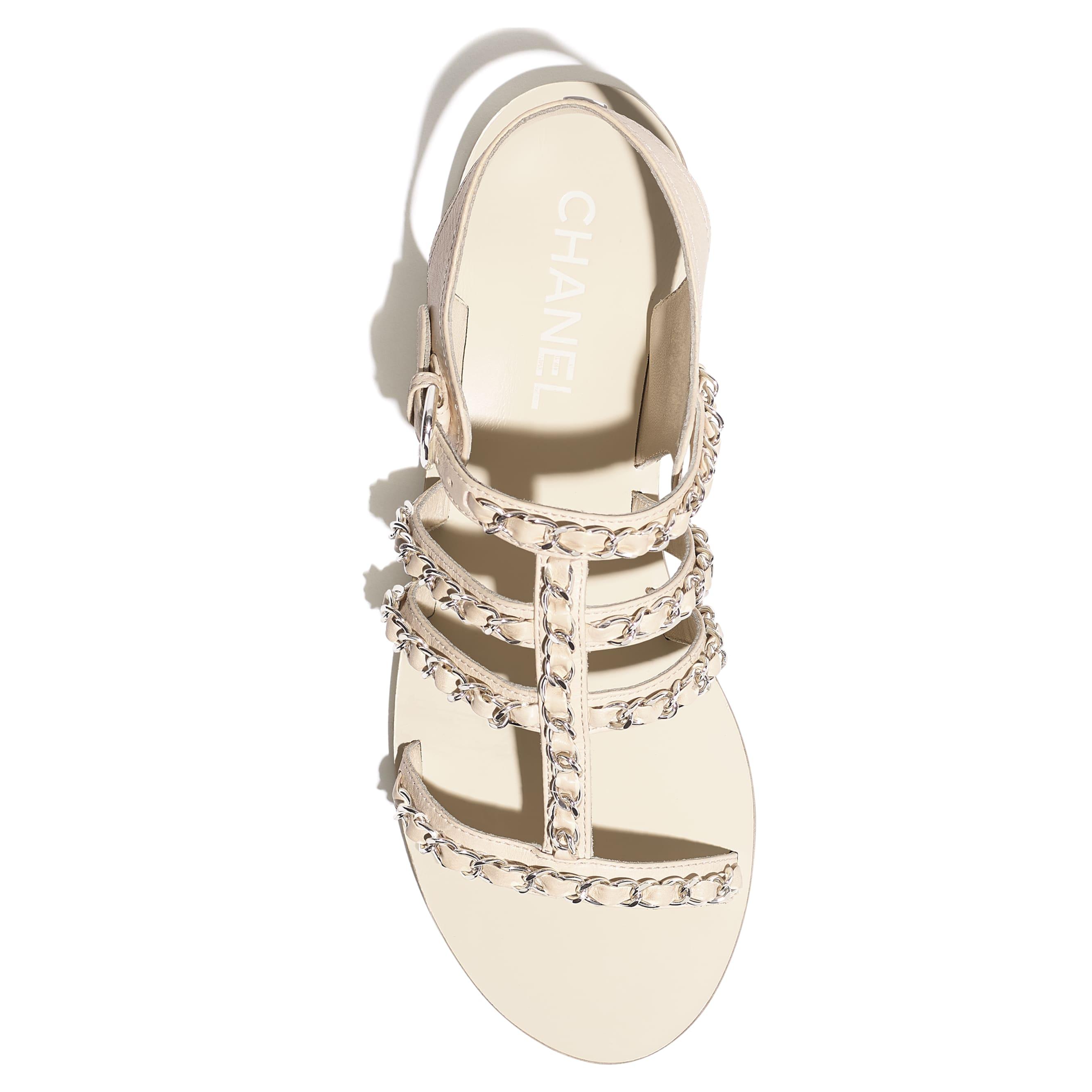 รองเท้าแซนดัลมีสายรัดส้น - สีขาว - หนังลูกวัว - มุมมองพิเศษ - ดูเวอร์ชันขนาดมาตรฐาน