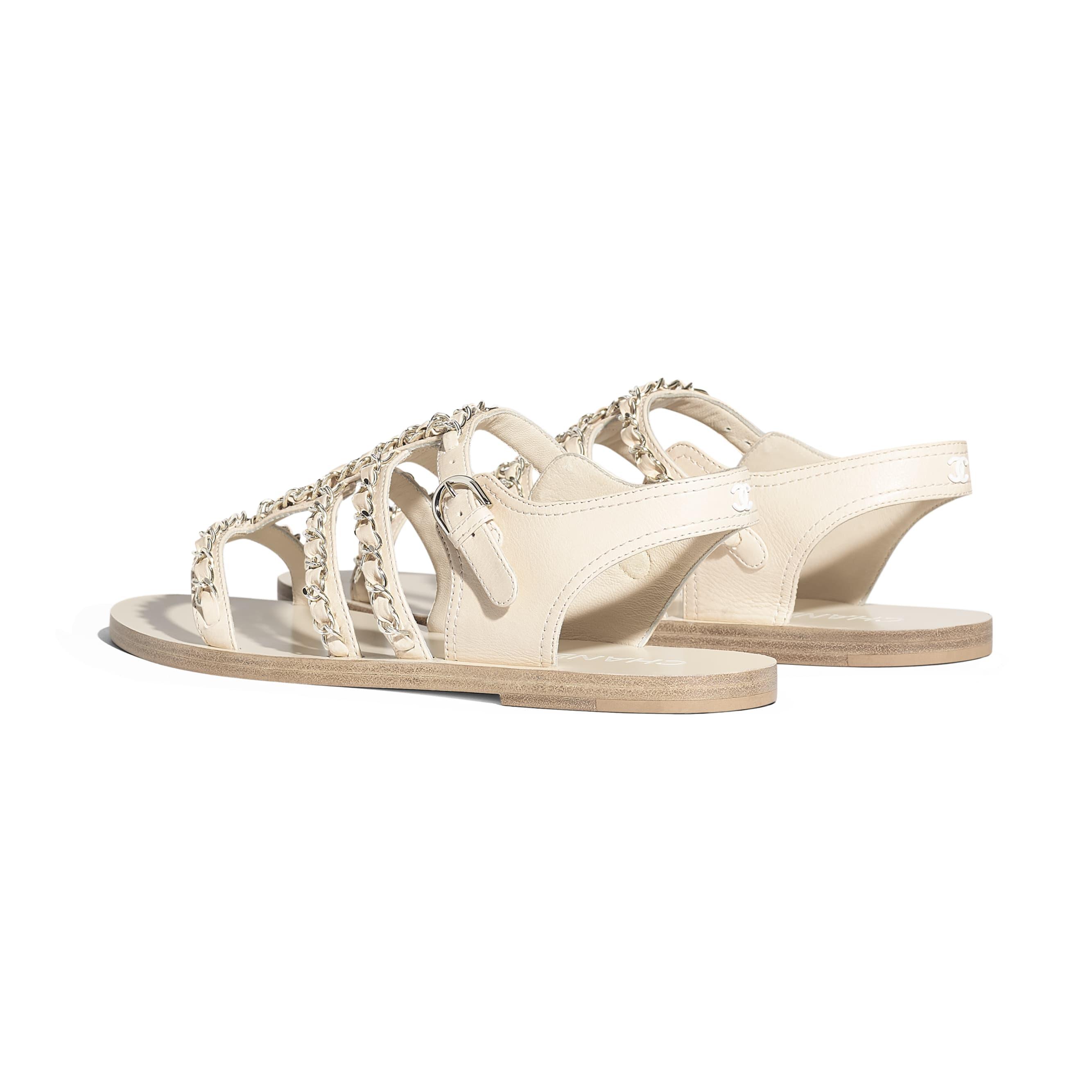 รองเท้าแซนดัลมีสายรัดส้น - สีขาว - หนังลูกวัว - มุมมองอื่น - ดูเวอร์ชันขนาดมาตรฐาน