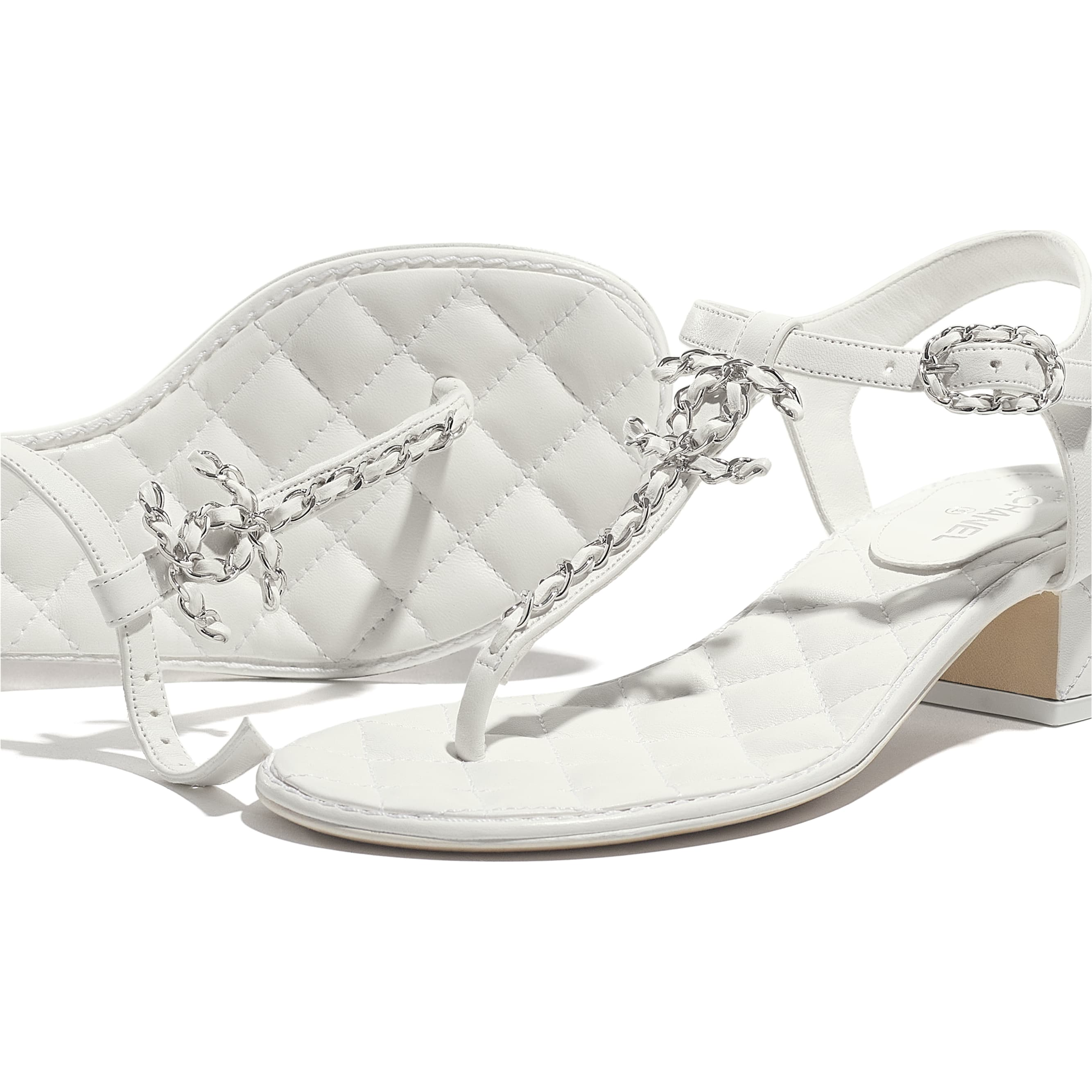 Sandals - White - Lambskin - CHANEL - Extra view - see standard sized version