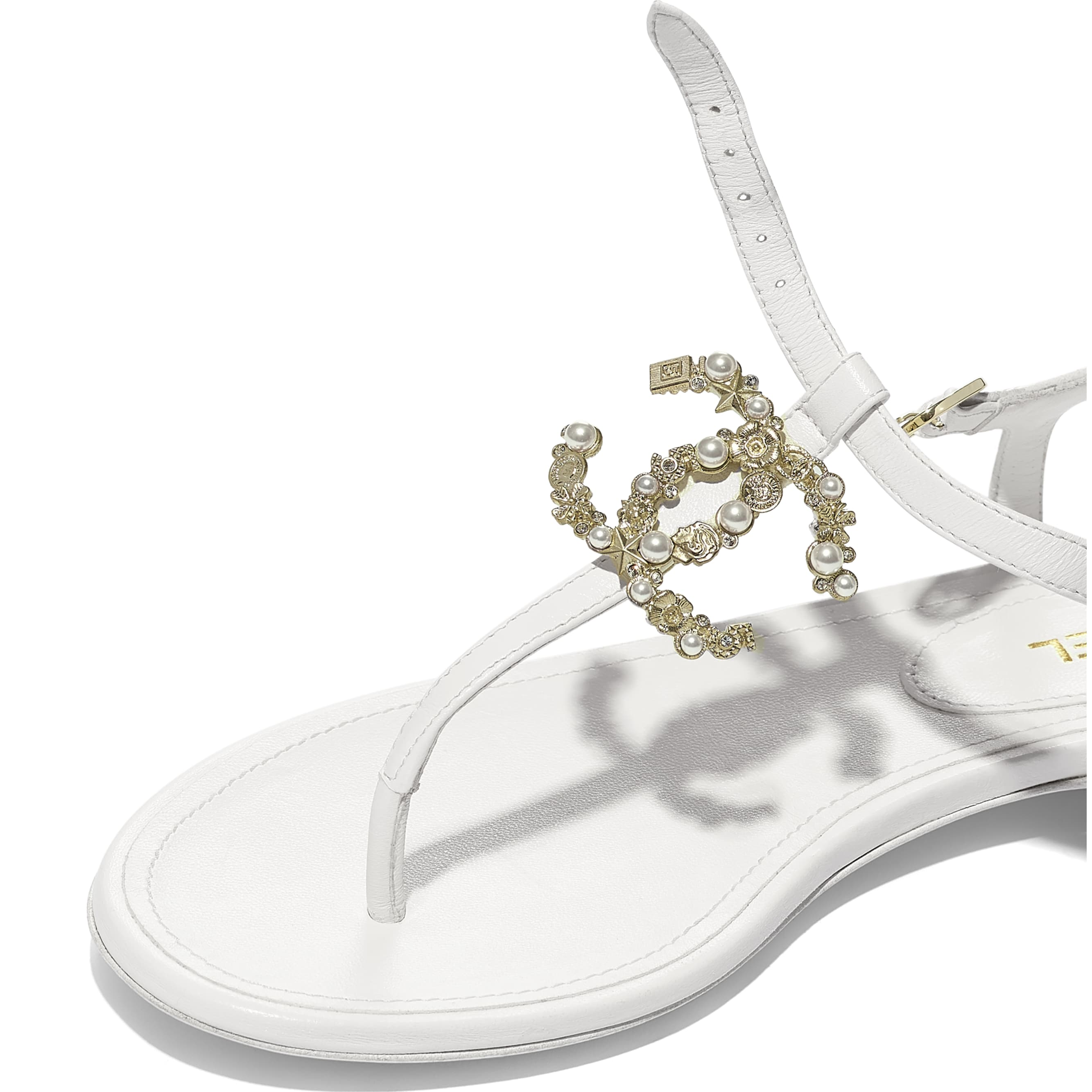 Sandals - White - Lambskin - Extra view - see standard sized version