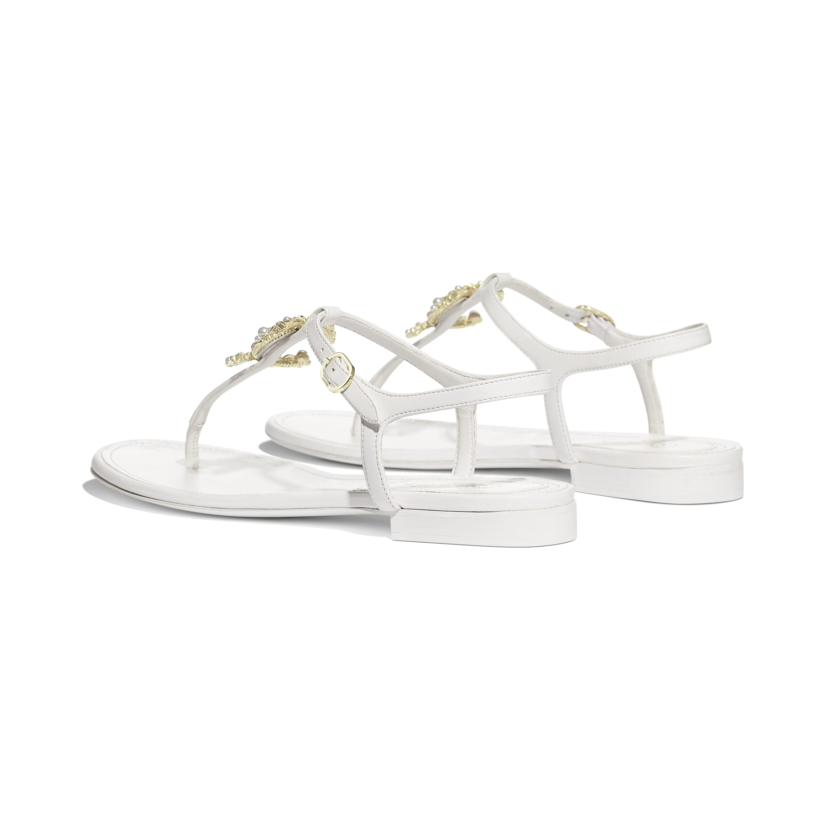 Sandals - White - Lambskin - Other view - see standard sized version