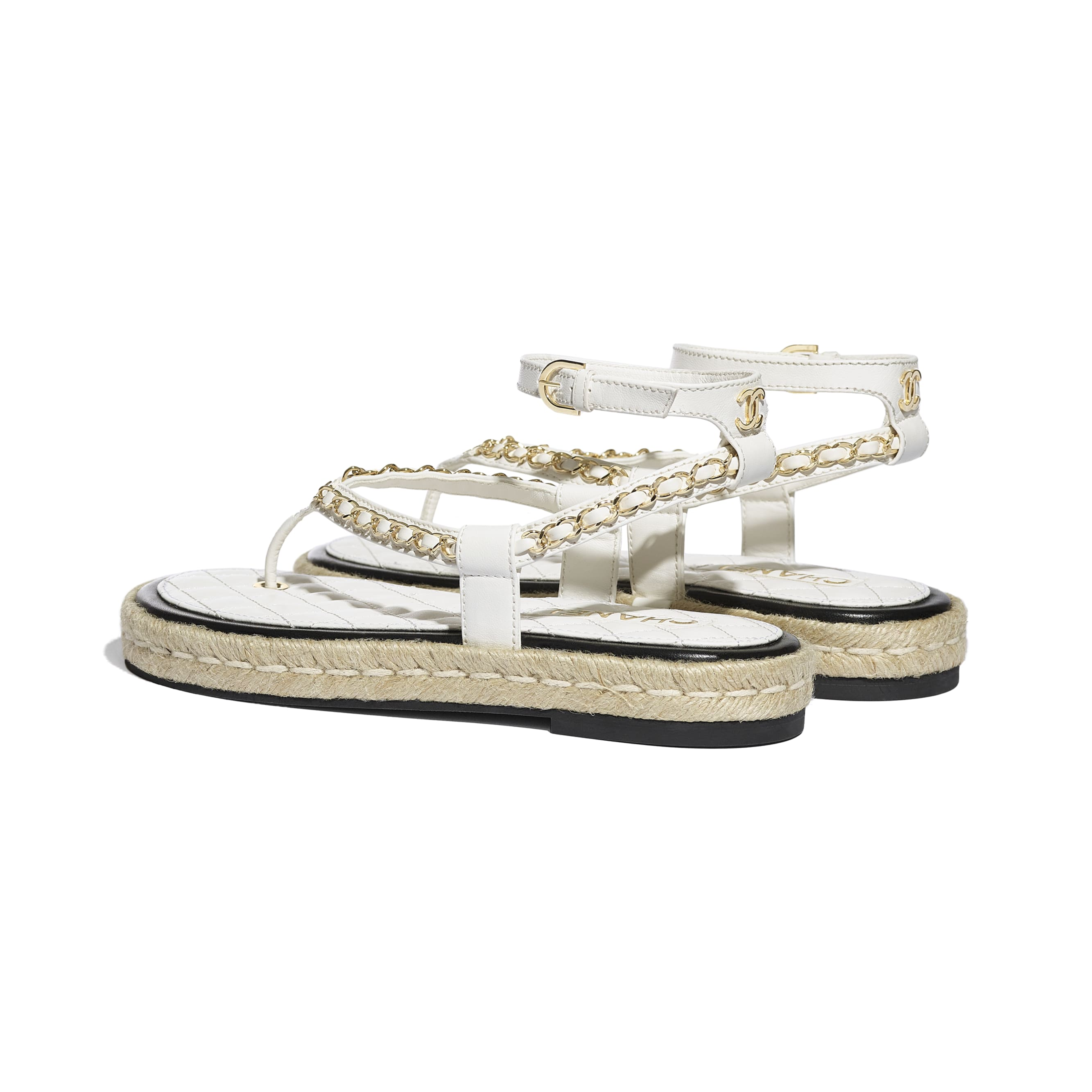 Sandals - White - Lambskin - CHANEL - Other view - see standard sized version