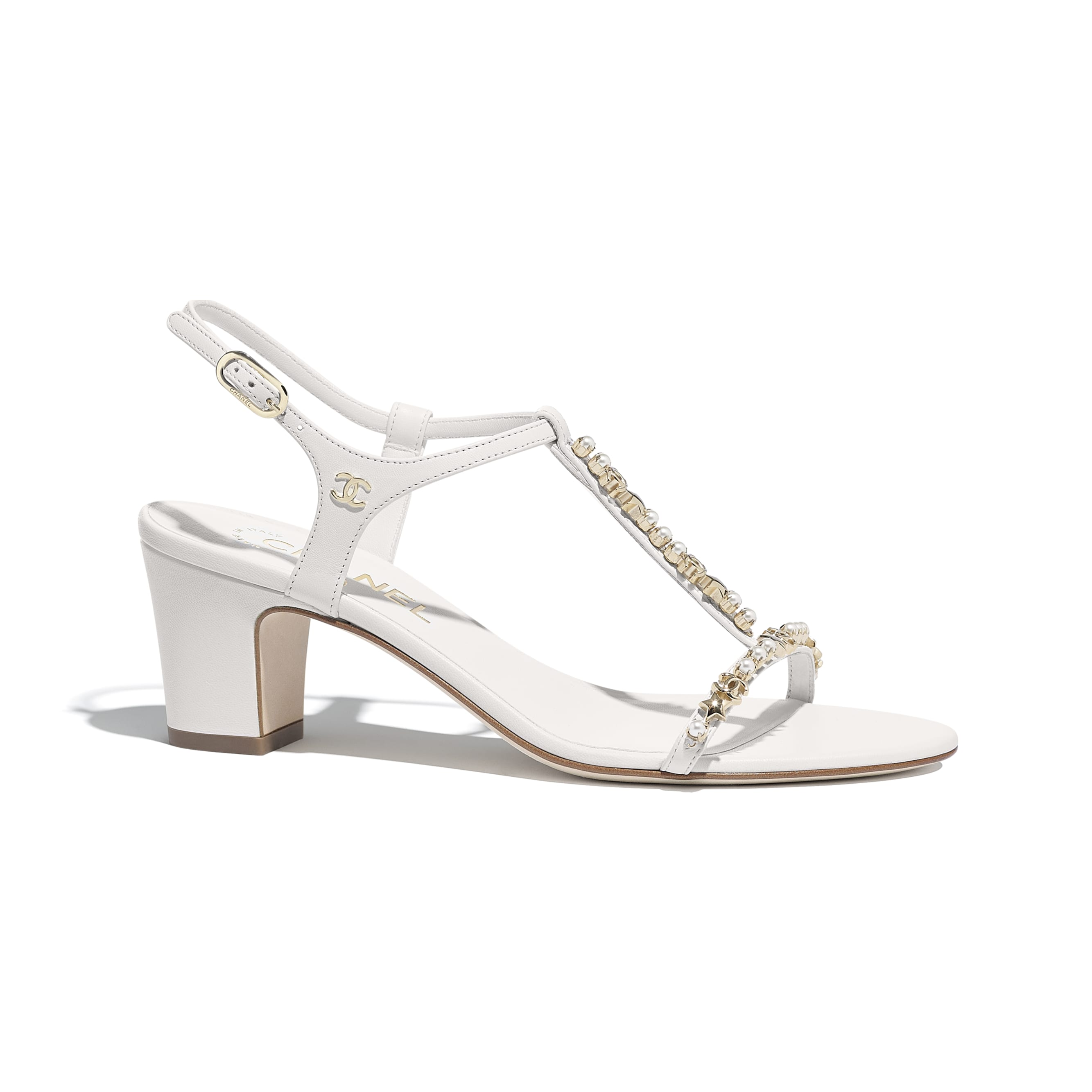 Sandals - White - Lambskin & Pearls - Default view - see standard sized version