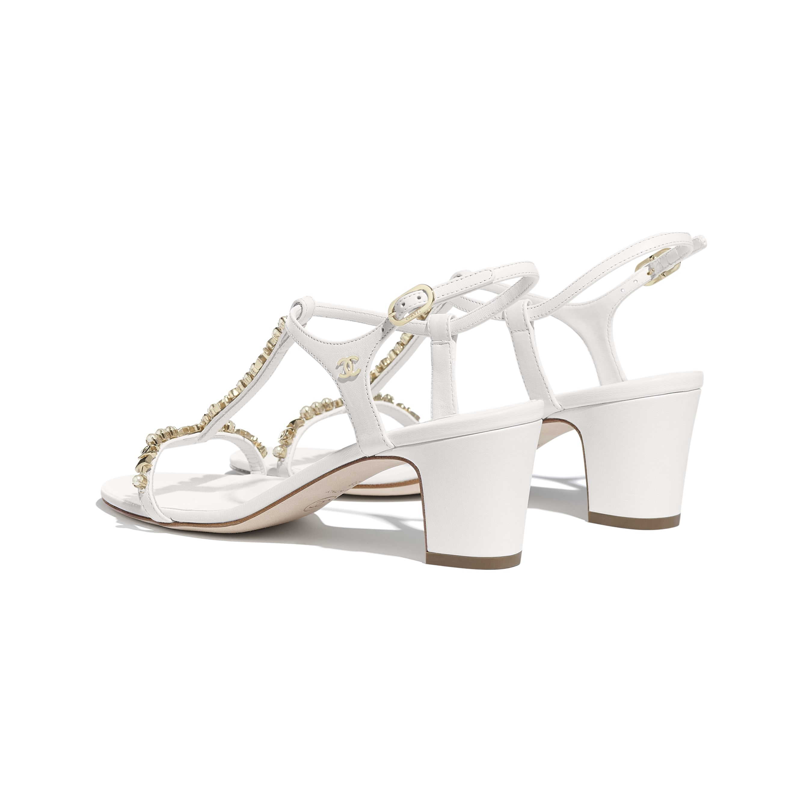 Sandals - White - Lambskin & Pearls - Other view - see standard sized version