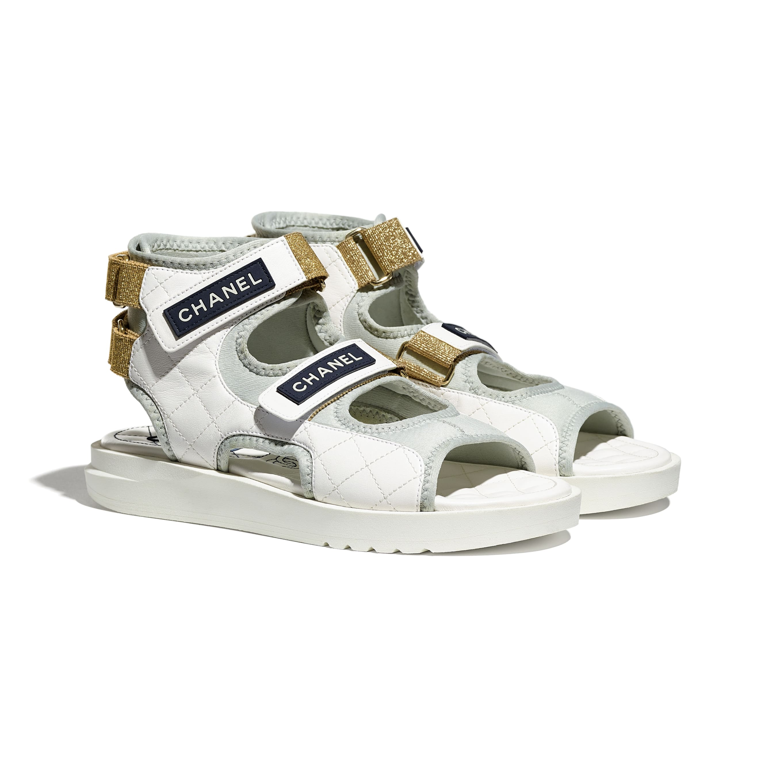 Sandals - White, Light Grey & Navy Blue - Goatskin, Fabric & TPU - CHANEL - Alternative view - see standard sized version