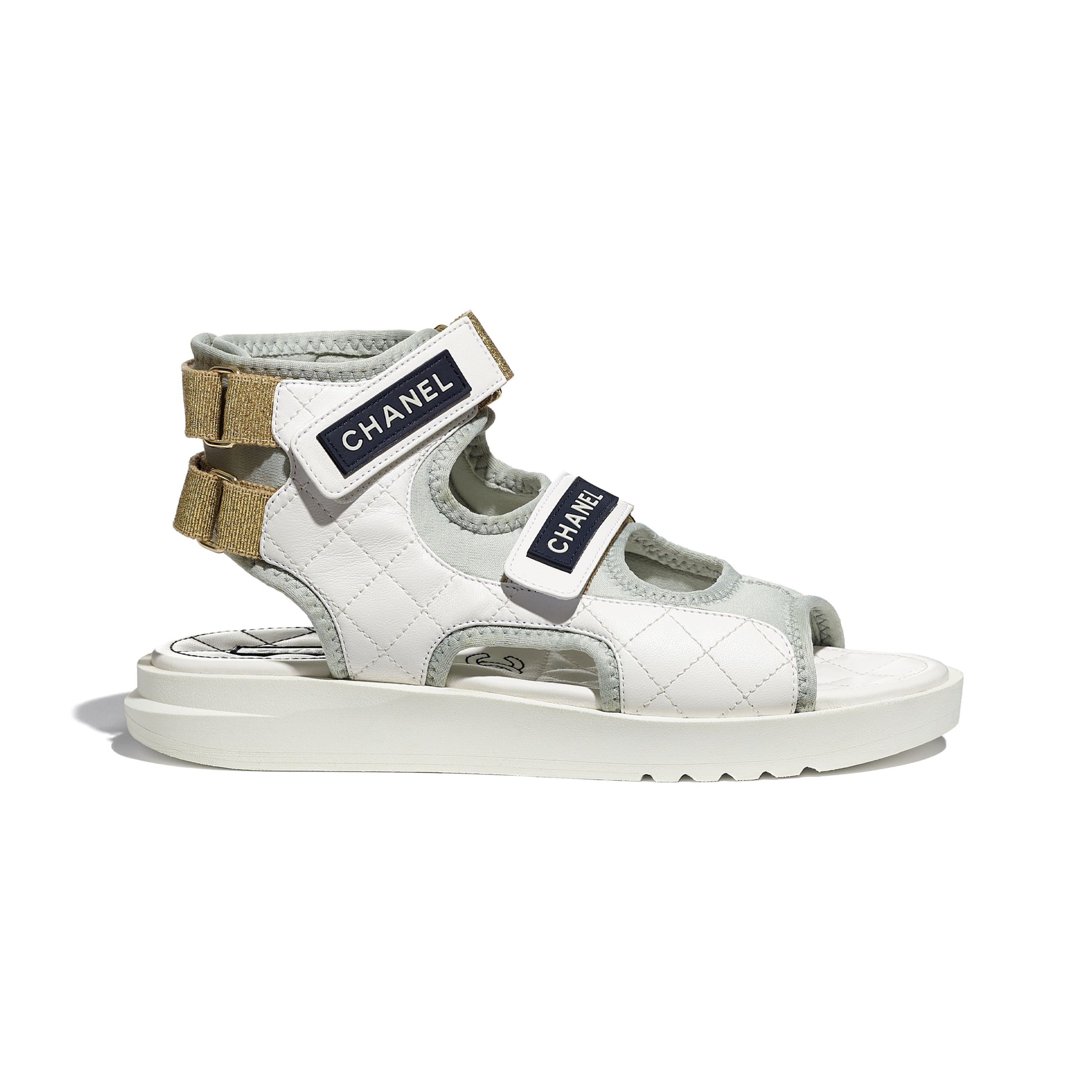 Sandals - White, Light Grey & Navy Blue - Goatskin, Fabric & TPU - CHANEL - Default view - see standard sized version