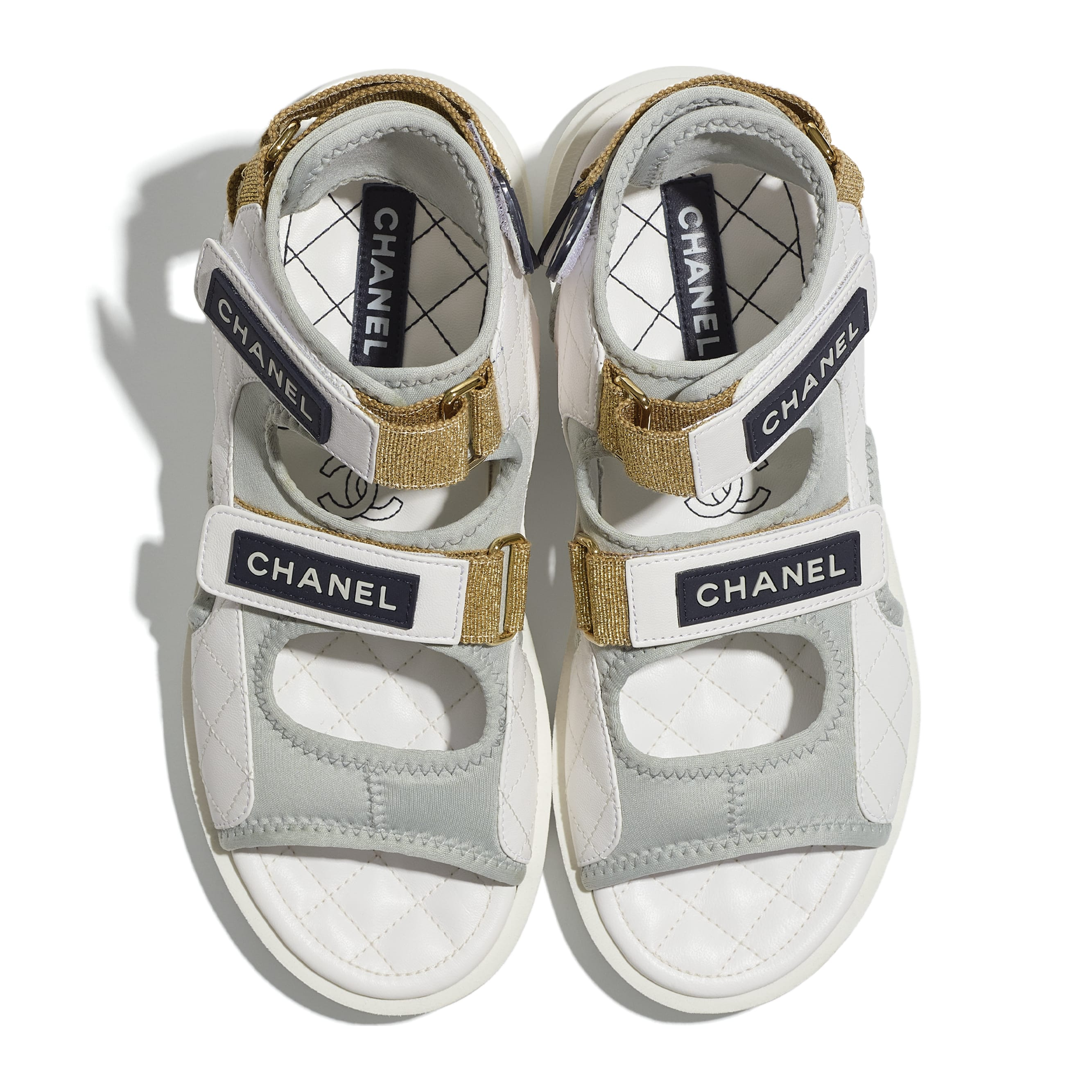 Sandals - White, Light Grey & Navy Blue - Goatskin, Fabric & TPU - CHANEL - Extra view - see standard sized version