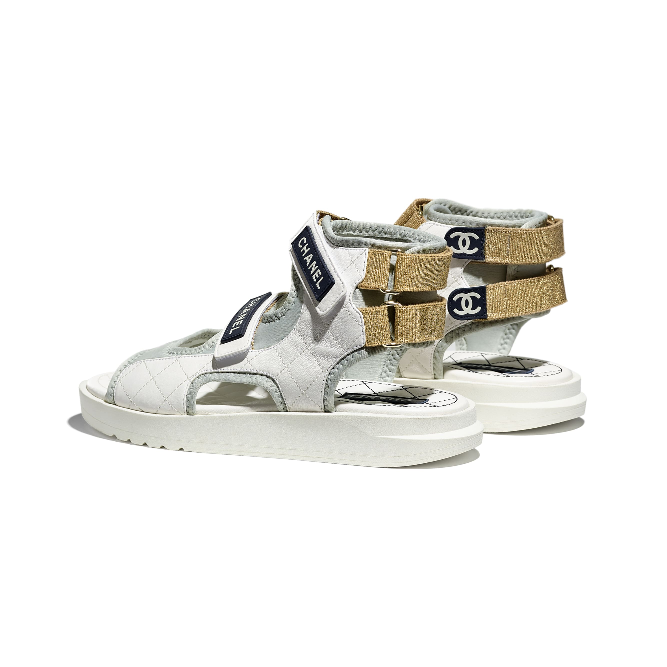 Sandals - White, Light Grey & Navy Blue - Goatskin, Fabric & TPU - CHANEL - Other view - see standard sized version