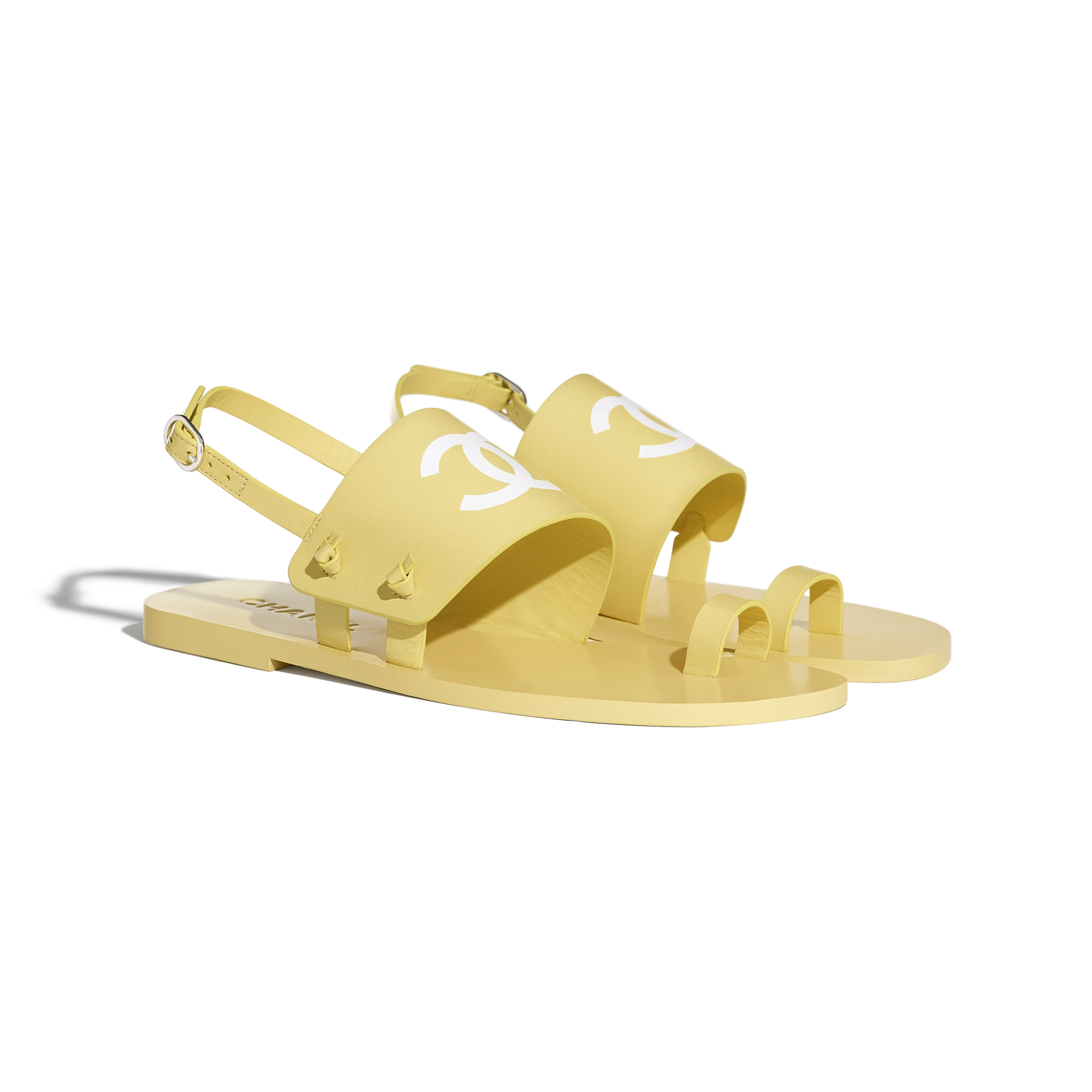 Sandals - Yellow - Goatskin - CHANEL - Alternative view - see standard sized version
