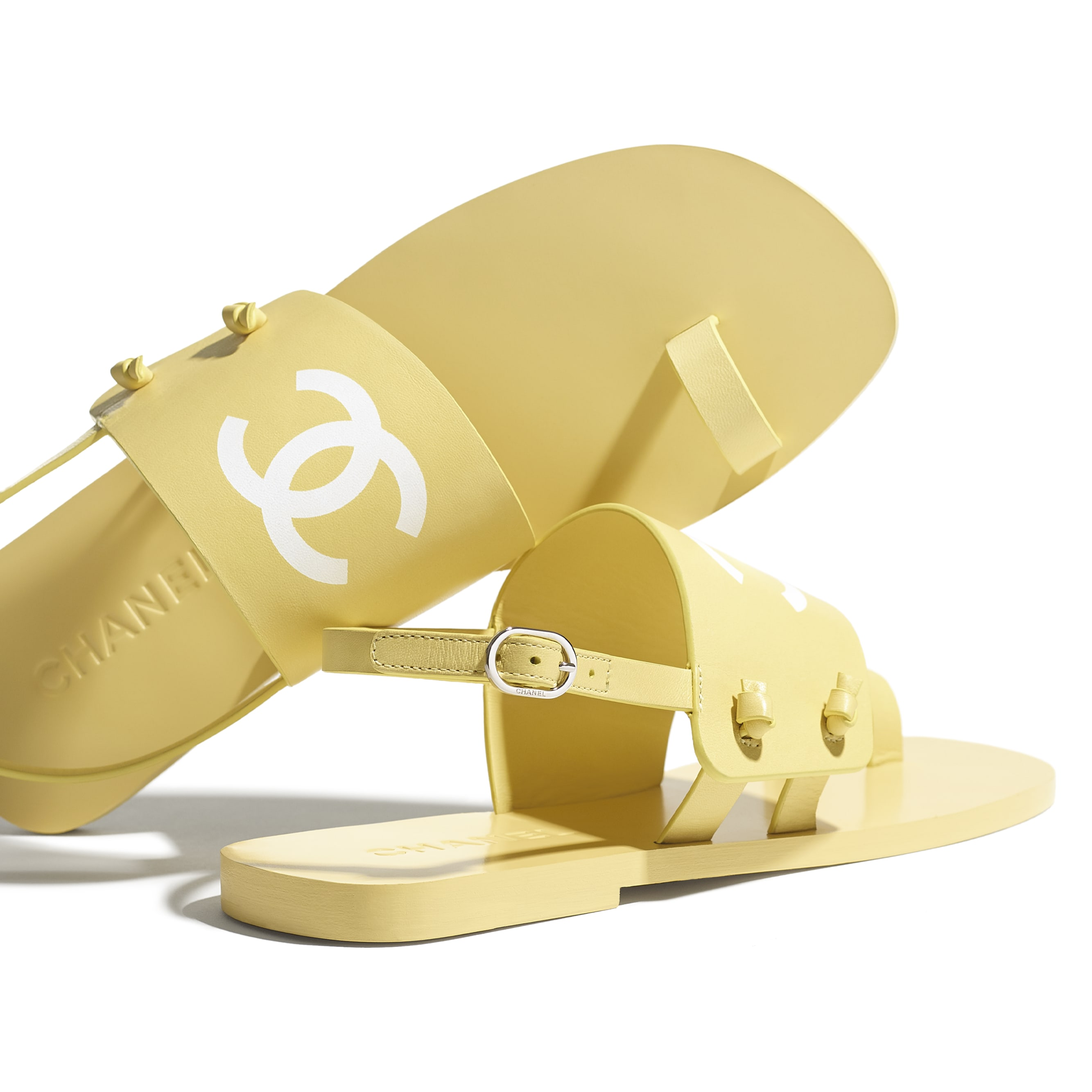 Sandals - Yellow - Goatskin - CHANEL - Extra view - see standard sized version