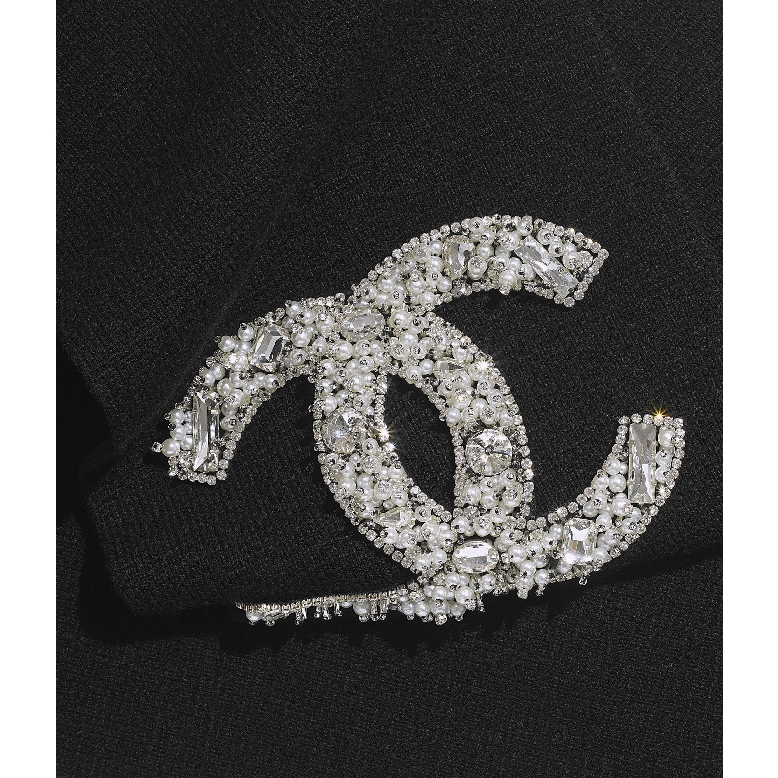 Scarf - Black - Cashmere, Glass Pearls & Diamante - CHANEL - Default view - see standard sized version