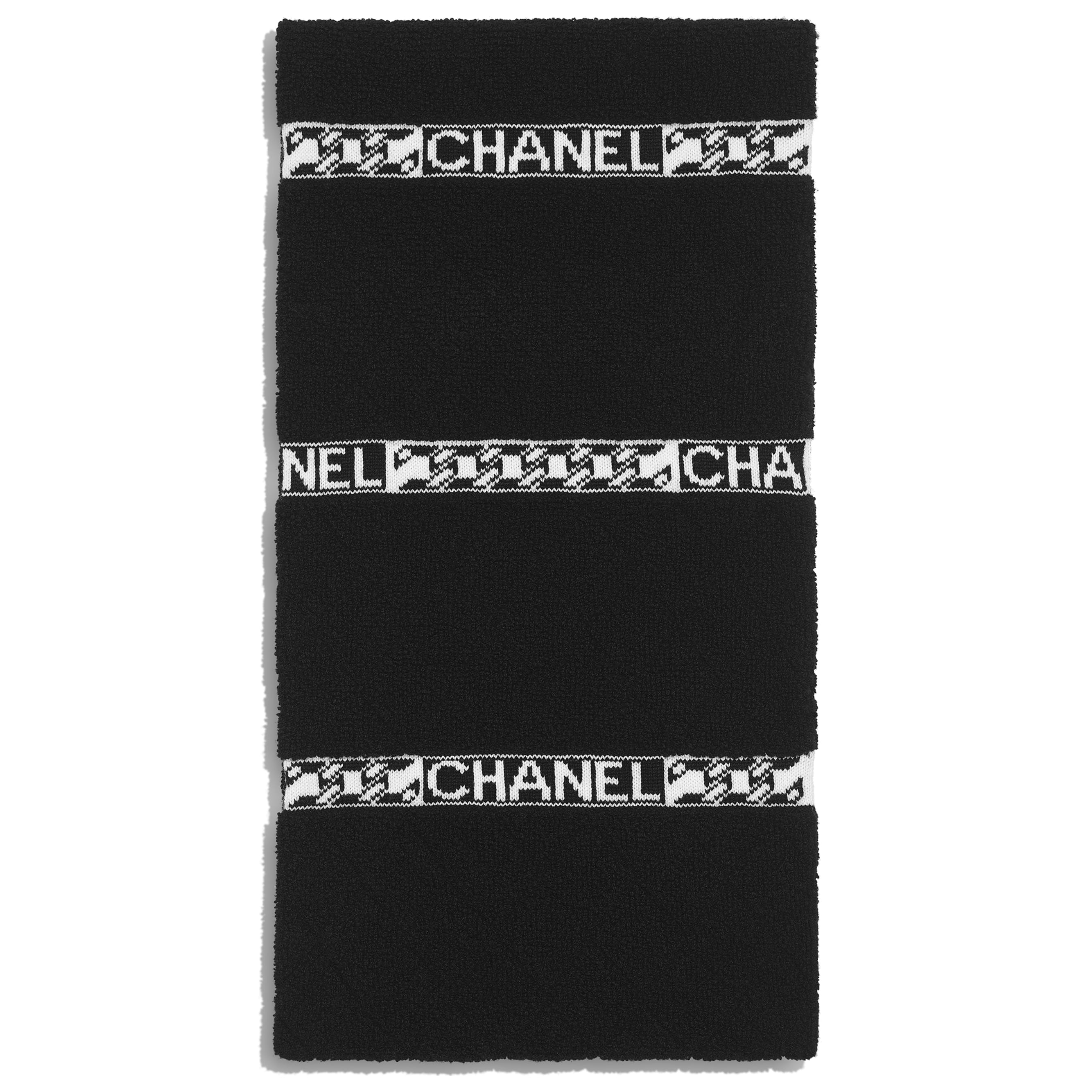 Scarf - Black & Ecru - Cashmere - CHANEL - Alternative view - see standard sized version
