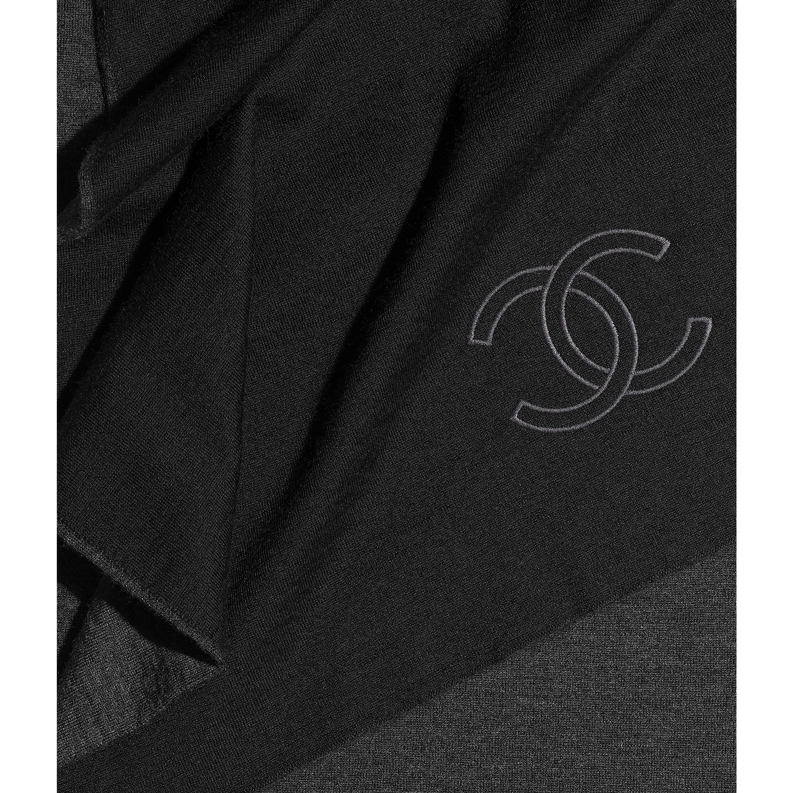 Scarf - Black & Grey - Cashmere & Silk - Default view - see standard sized version