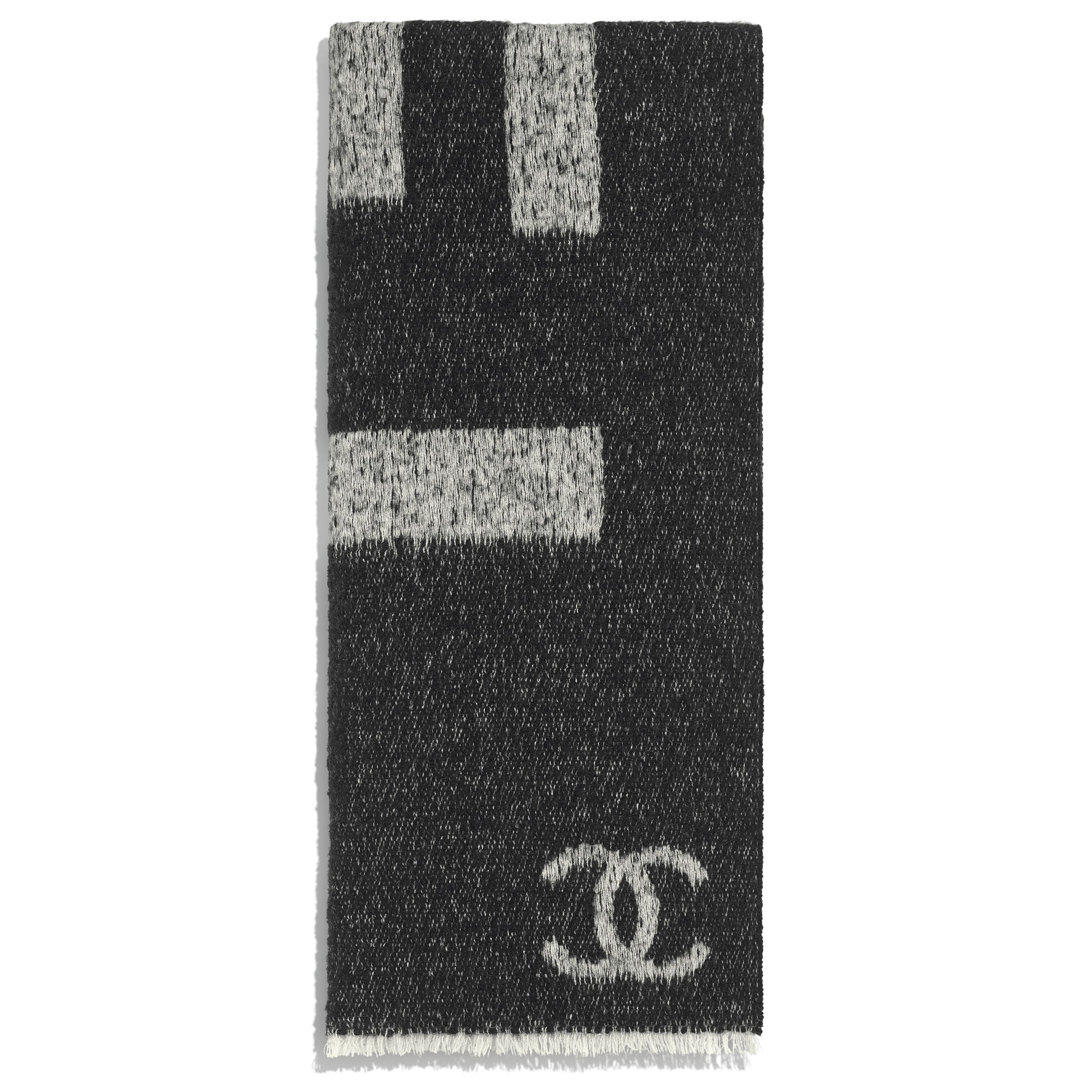 Scarf - Black & Ivory - Cashmere & Silk - CHANEL - Alternative view - see standard sized version