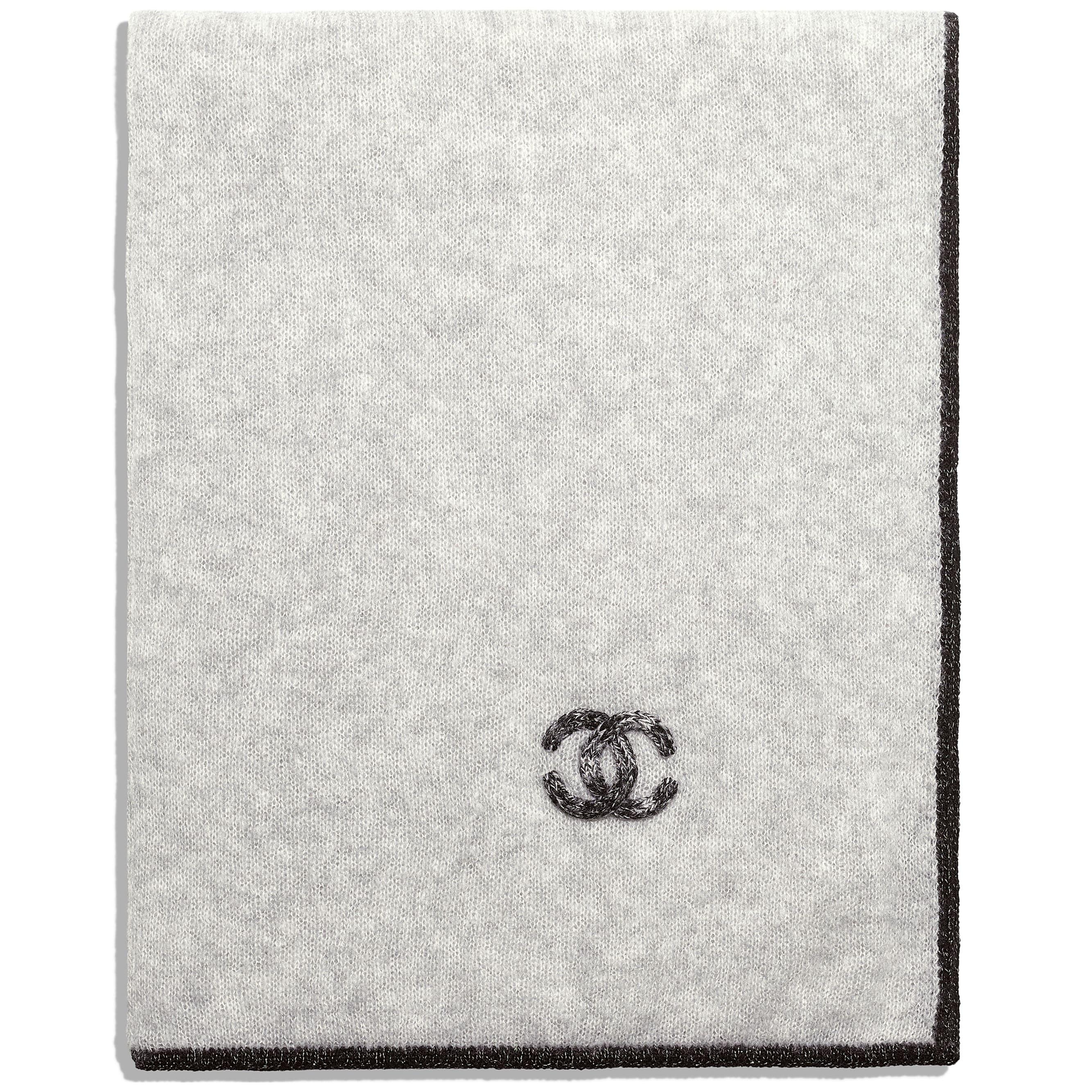 Шарф - Серый - Кашемир и шелк - Альтернативный вид - посмотреть изображение стандартного размера