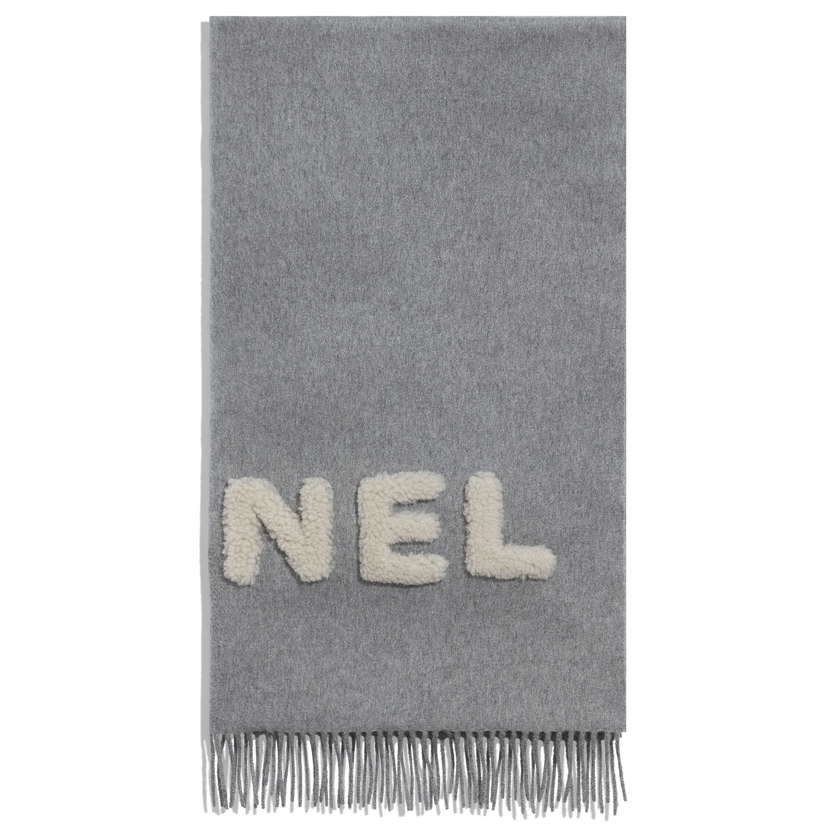 Scarf - Gray & Ivory - Cashmere & Shearling - CHANEL - Alternative view - see standard sized version