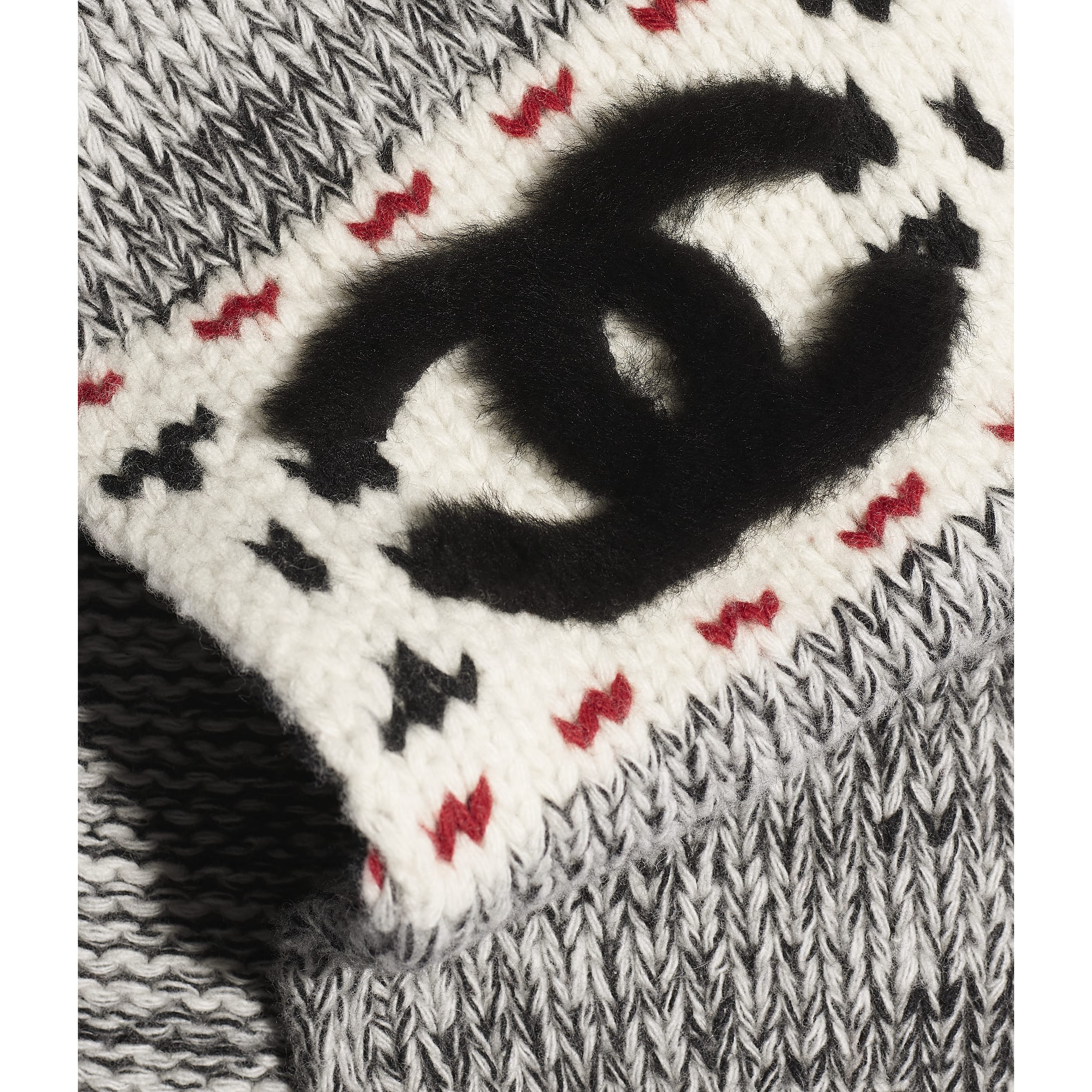 Scarf - Ivory, Black & Red - Wool & Shearling - Default view - see standard sized version