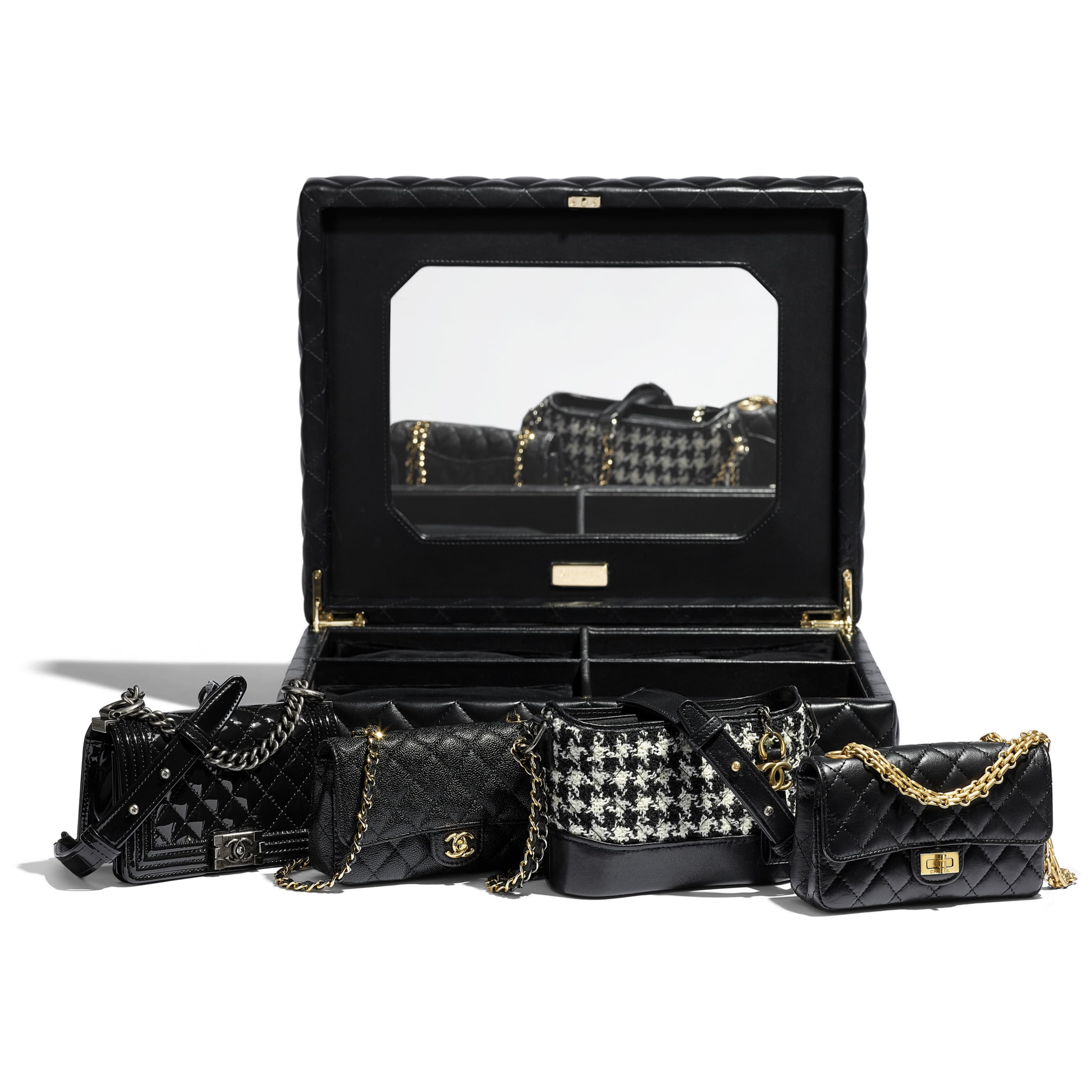 Set of 4 Minis Bags - Black - Lambskin, Calfskin, Tweed, Gold-Tone, Silver-Tone & Ruthenium-Finish Metal - CHANEL - Alternative view - see standard sized version