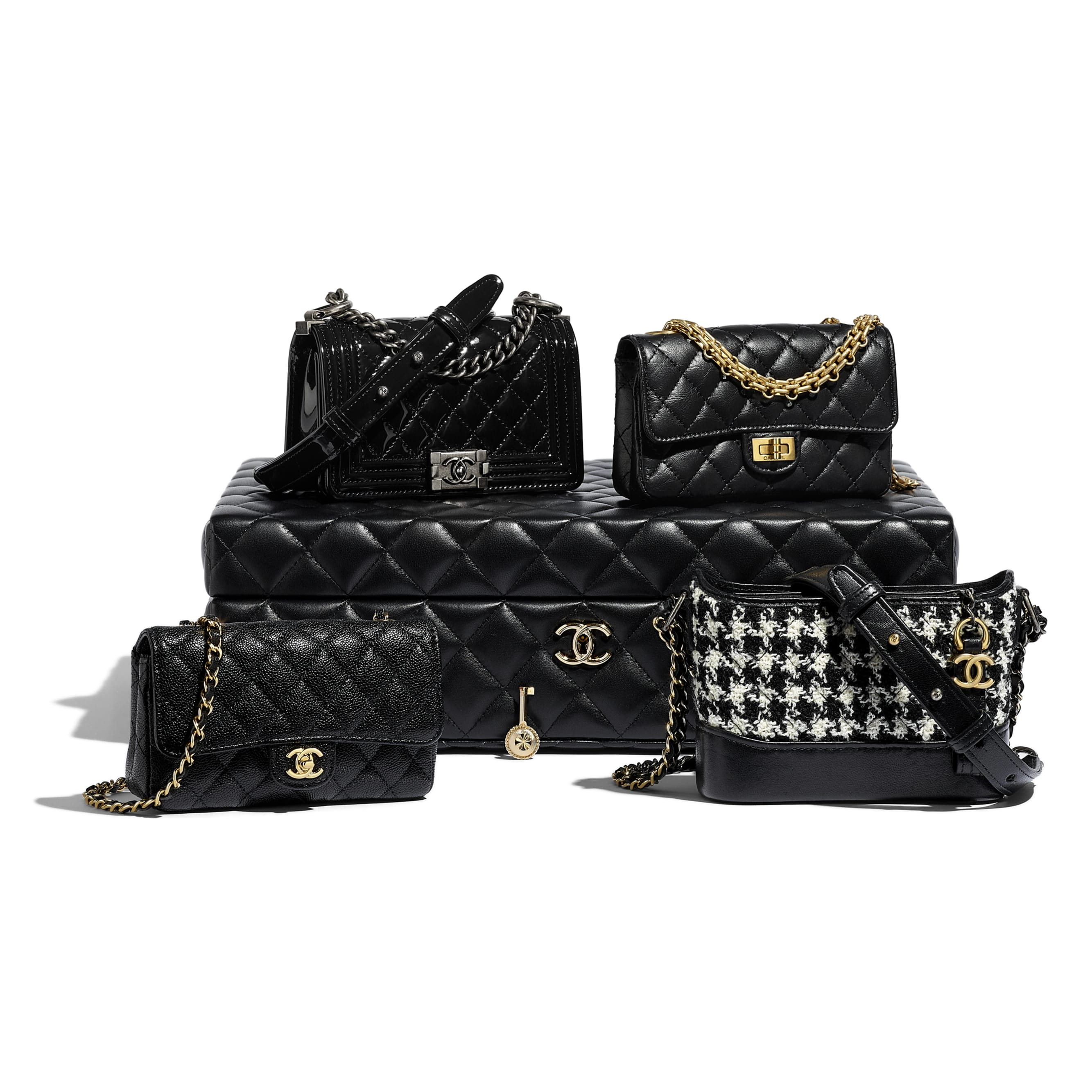 Set of 4 Minis Bags - Black - Lambskin, Calfskin, Tweed, Gold-Tone, Silver-Tone & Ruthenium-Finish Metal - CHANEL - Default view - see standard sized version