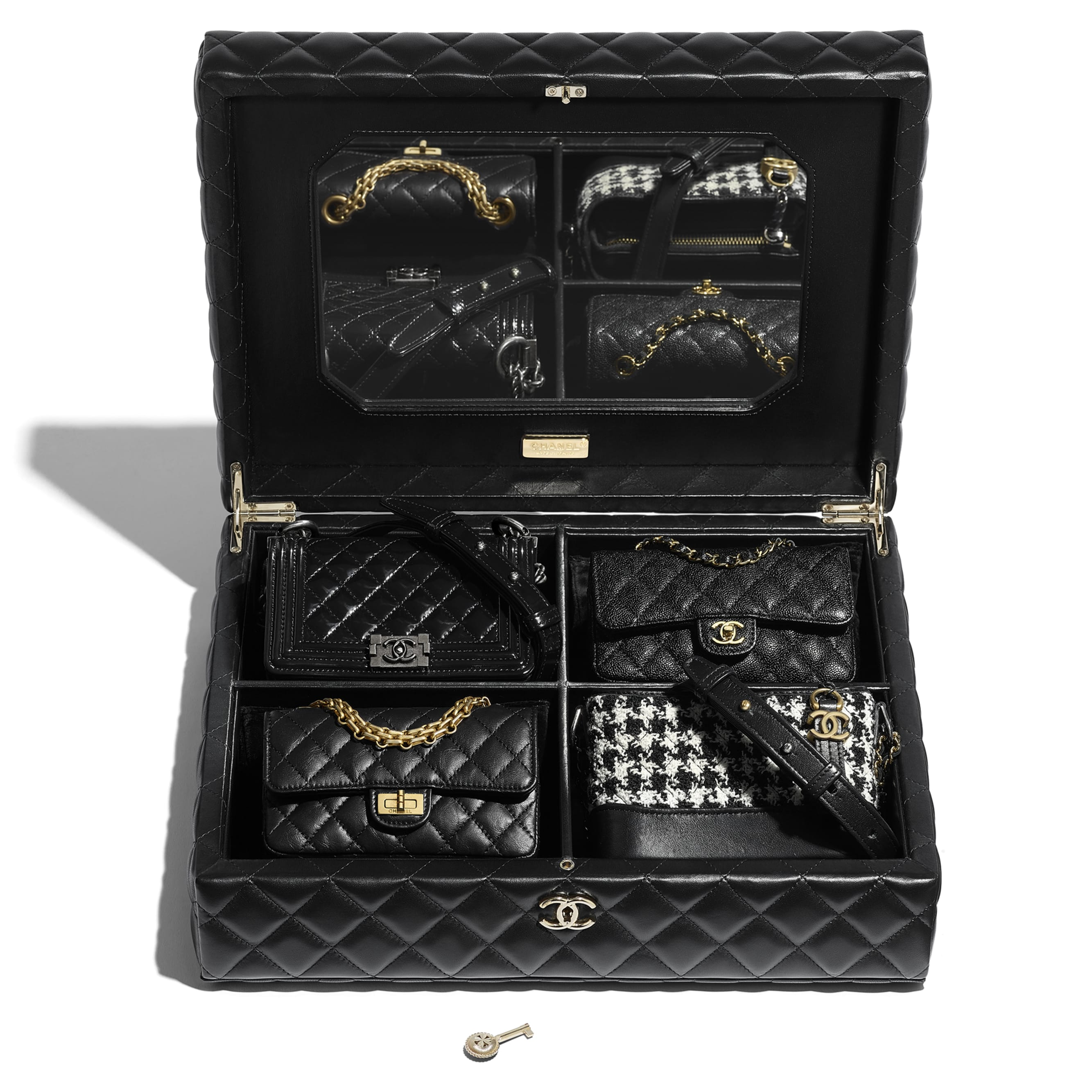 Set of 4 Minis Bags - Black - Lambskin, Calfskin, Tweed, Gold-Tone, Silver-Tone & Ruthenium-Finish Metal - CHANEL - Other view - see standard sized version