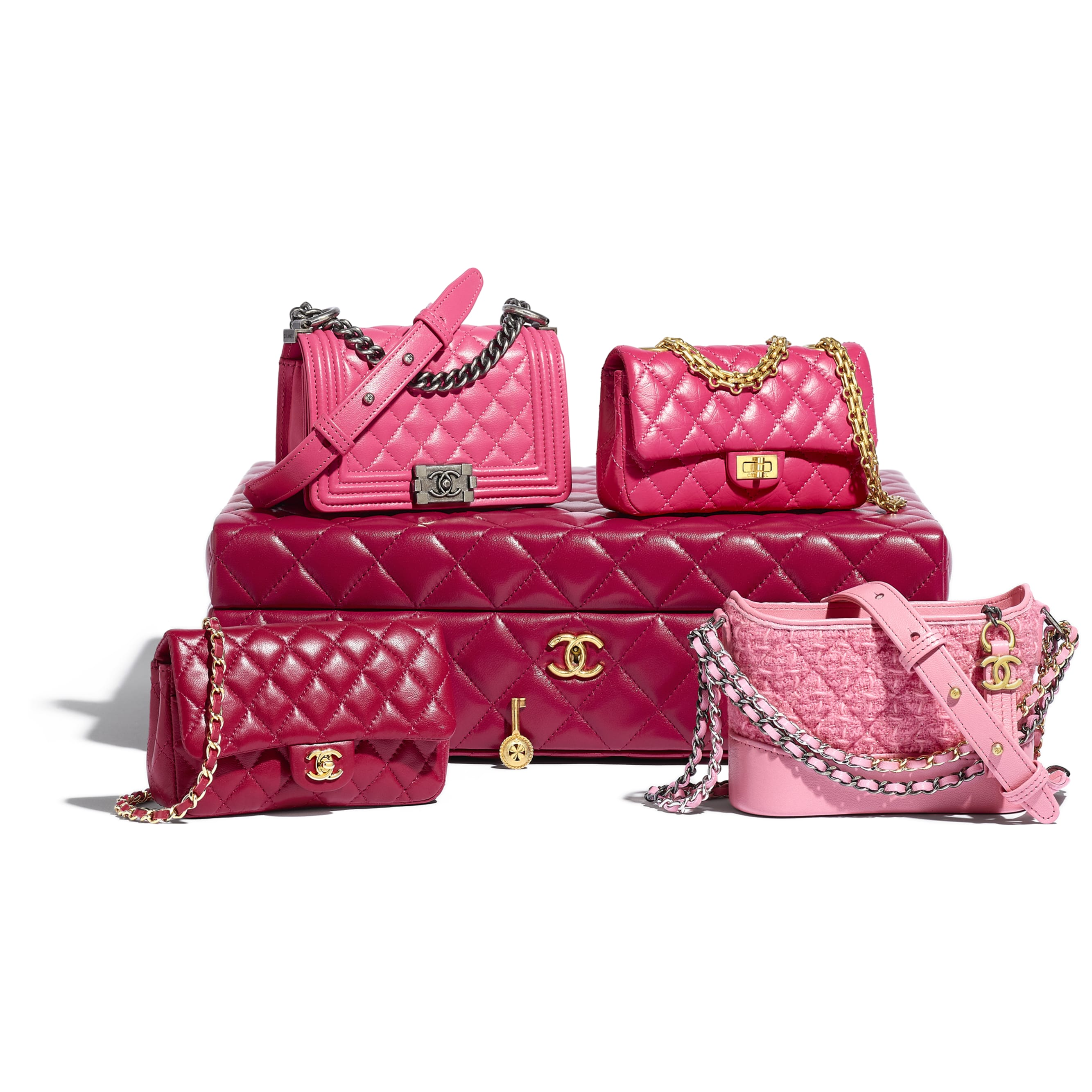 Set of 4 Minis Bags - Pink - Lambskin, Calfskin, Tweed, Gold-Tone, Silver-Tone & Ruthenium-Finish Metal - CHANEL - Default view - see standard sized version