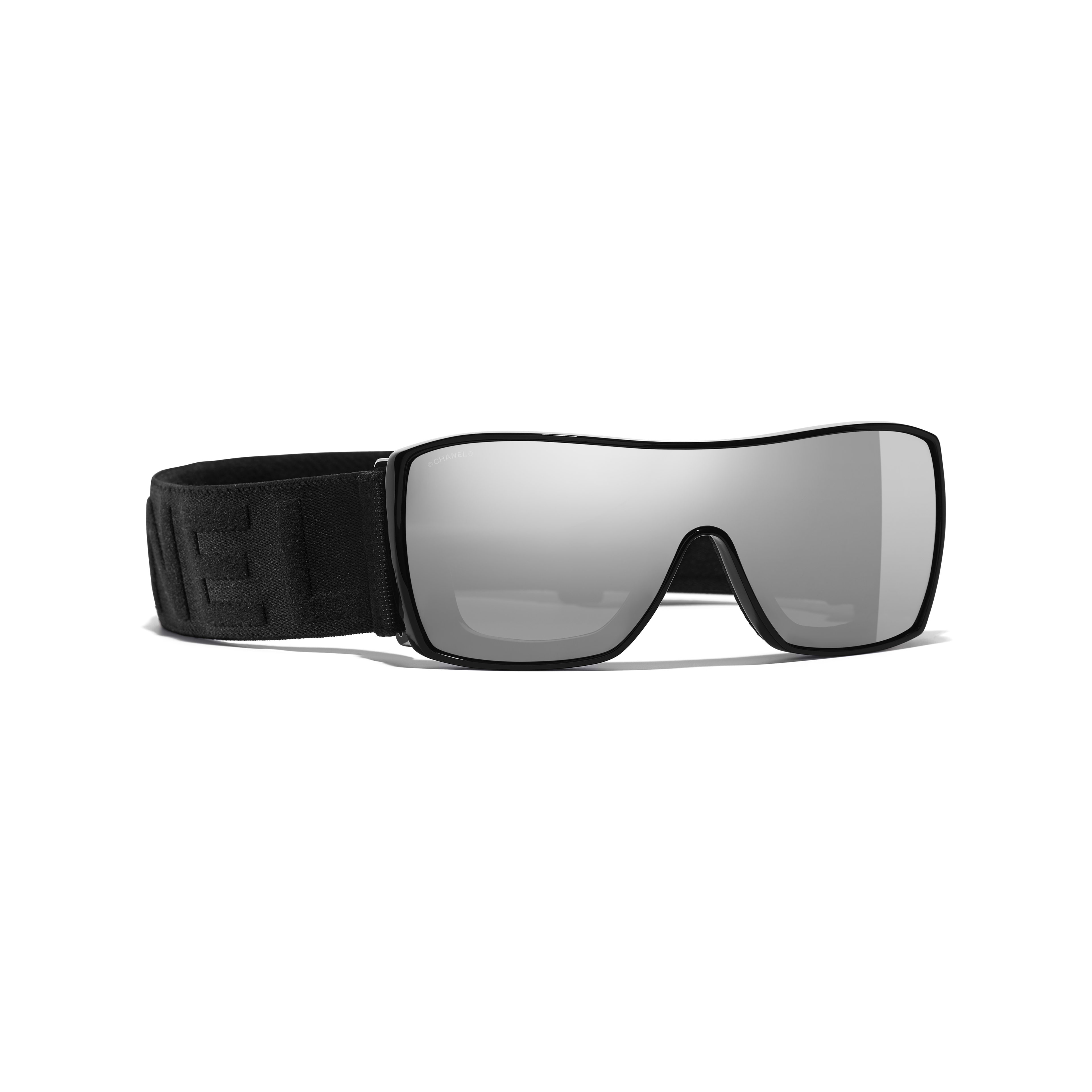 26d3c10b6a Shield Sunglasses Black frame. Silver mirror lenses.