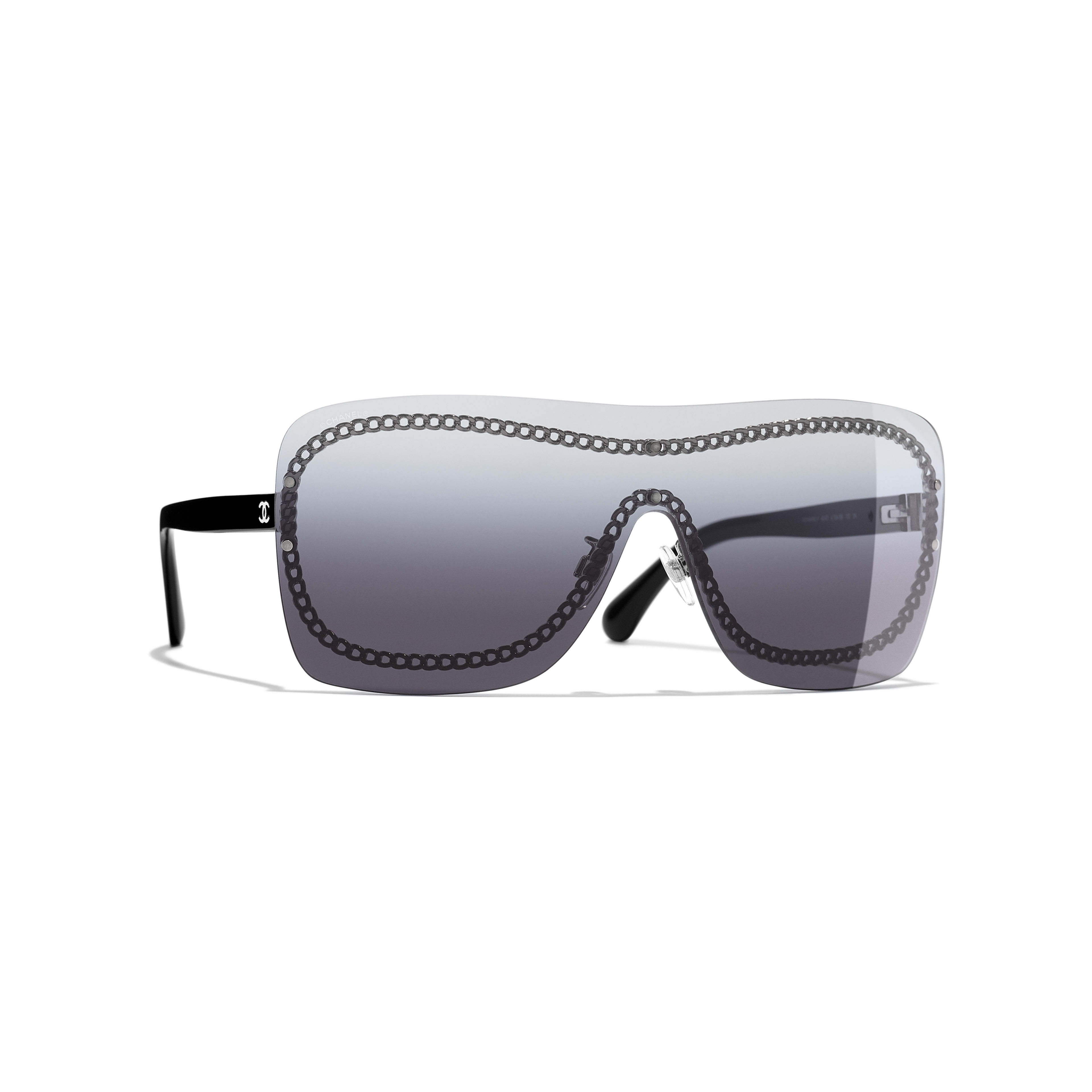 28f3dbecae Shield Sunglasses Black frame. Gray gradient lenses.