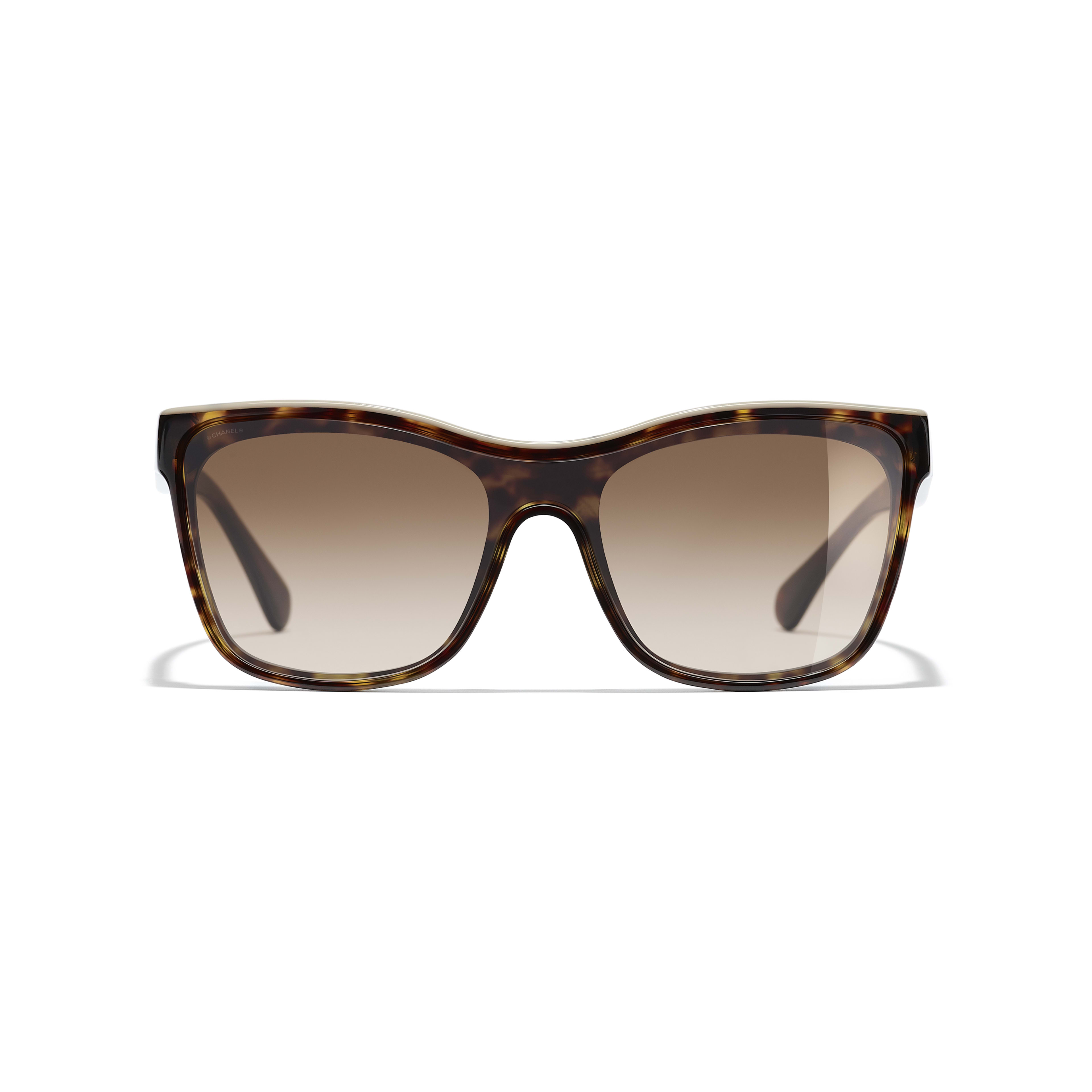 Shield Sunglasses - Dark Tortoise & Beige - Acetate - CHANEL - Alternative view - see standard sized version