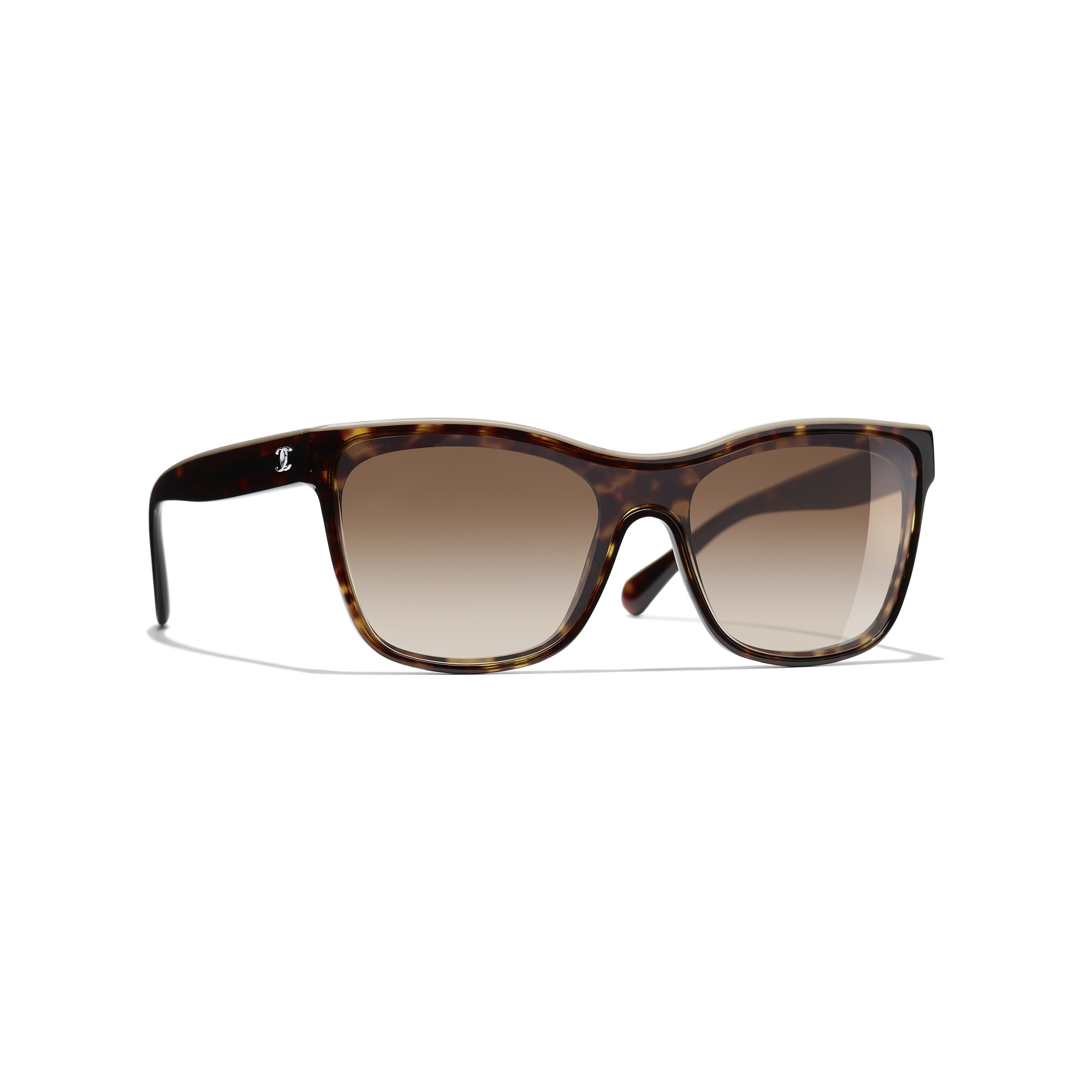 Shield Sunglasses - Dark Tortoise & Beige - Acetate - CHANEL - Default view - see standard sized version