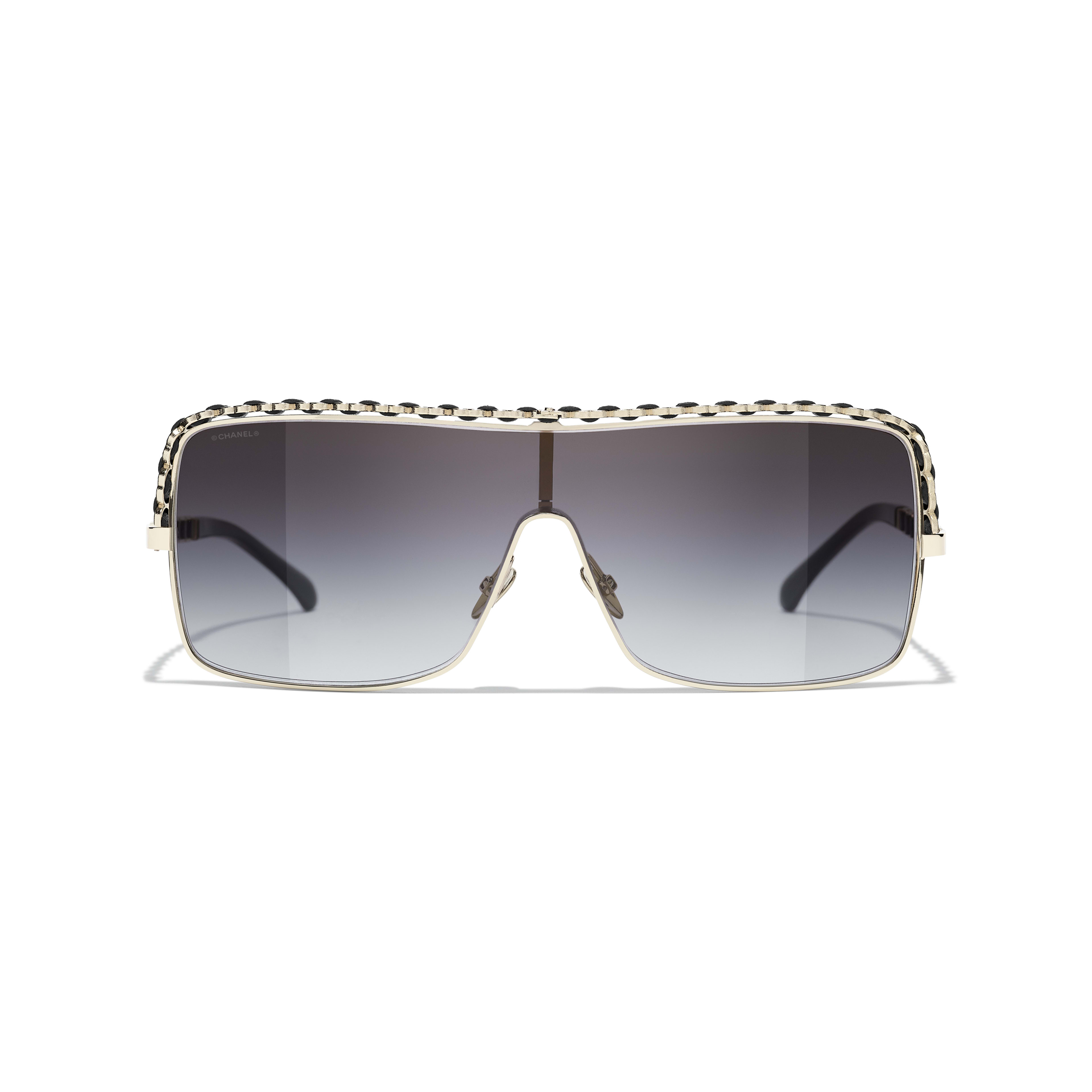 Shield Sunglasses - Gold - Metal & Calfskin - CHANEL - Alternative view - see standard sized version