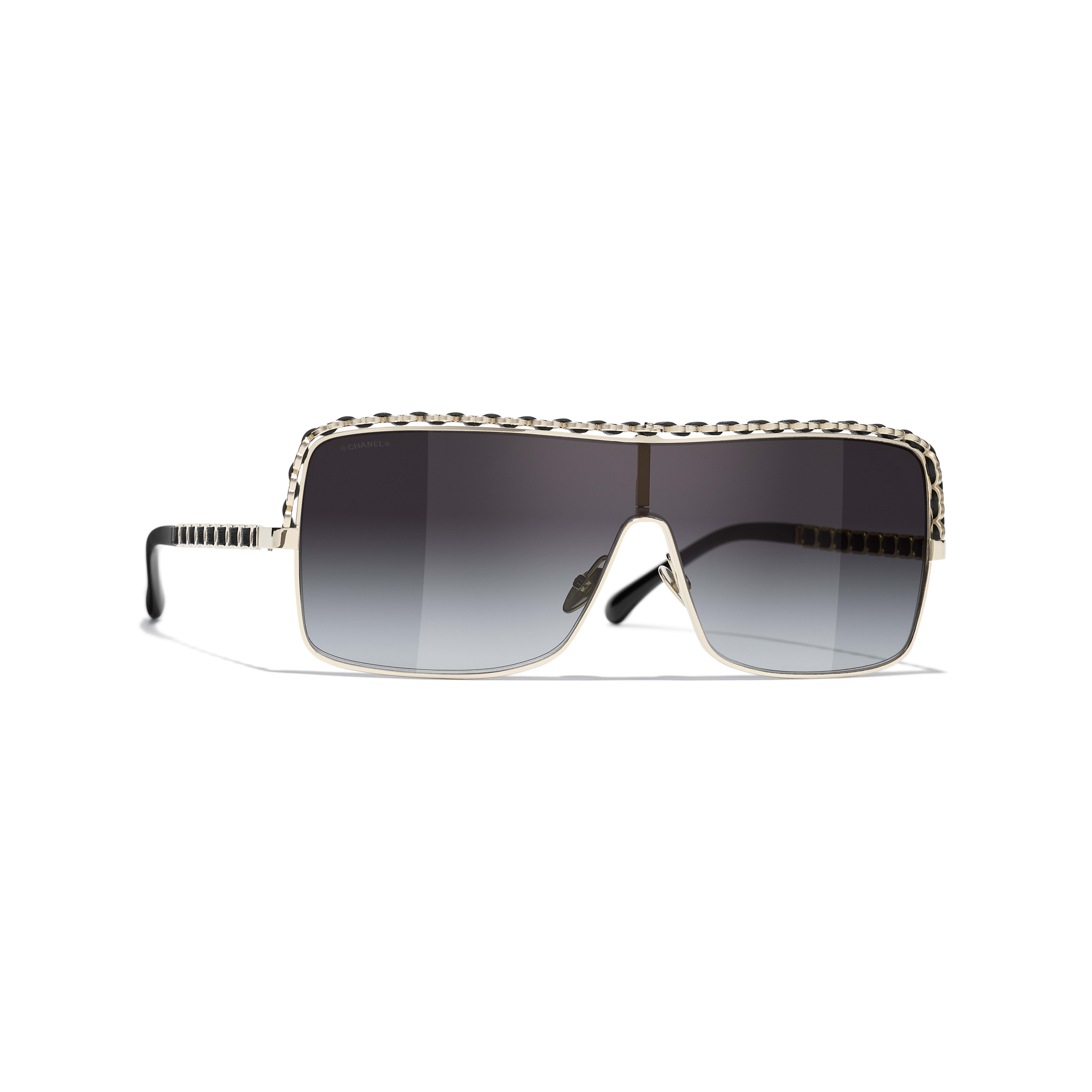 Shield Sunglasses - Gold - Metal & Calfskin - CHANEL - Default view - see standard sized version