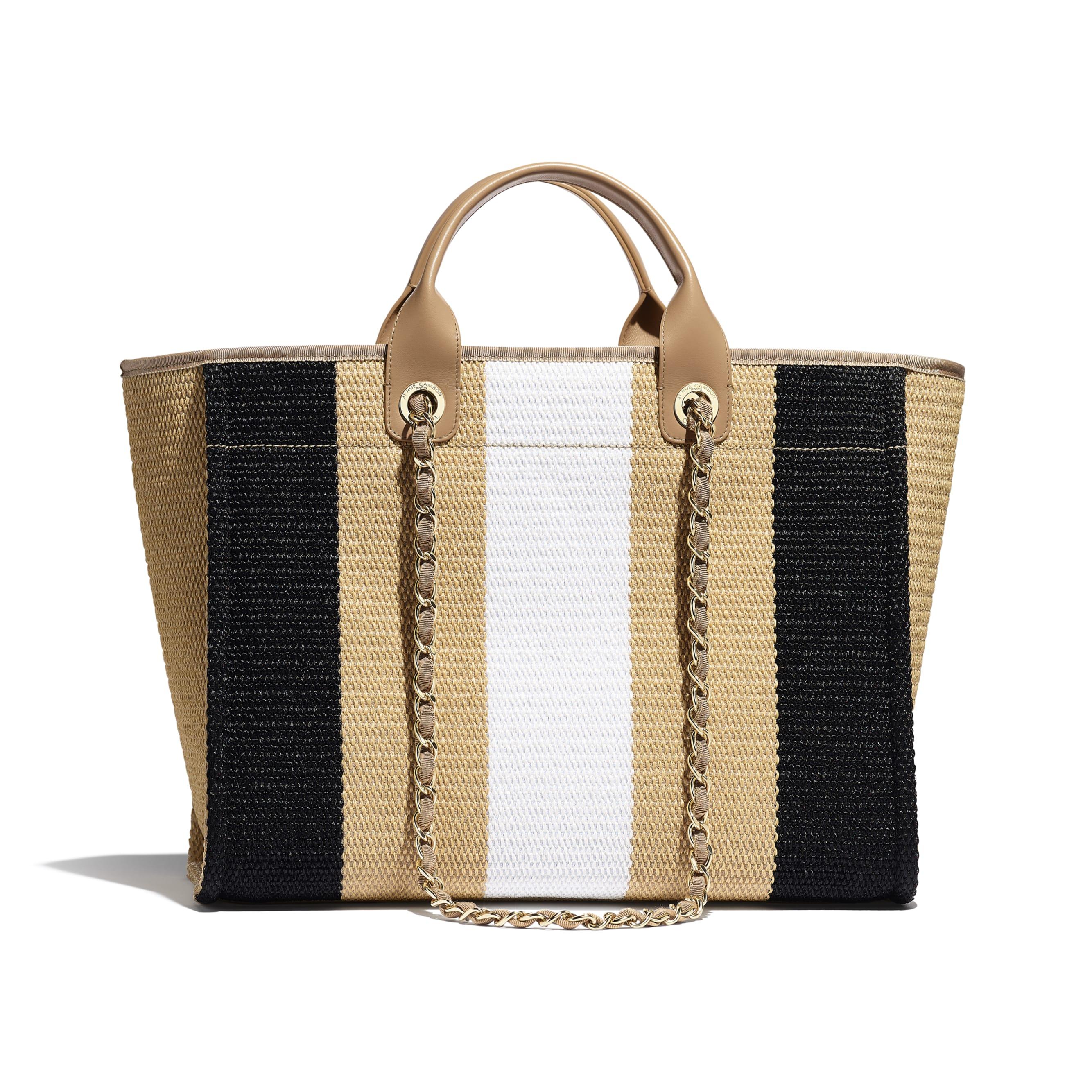 購物袋 - 米、黑及象牙色 - 人造絲、棉、小牛皮及金色金屬 - CHANEL - 替代視圖 - 查看標準尺寸版本