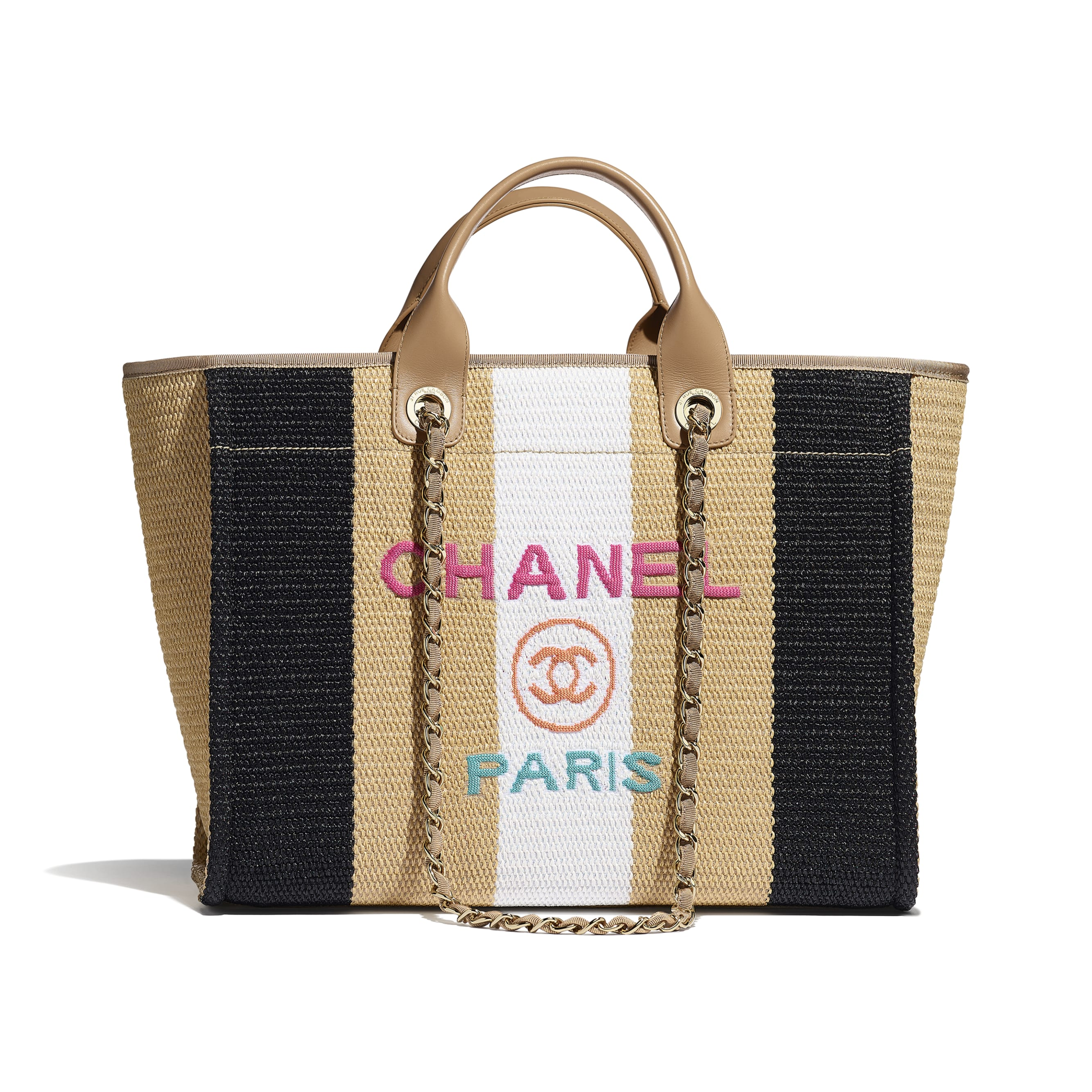 購物包 - 米、黑 & 象牙白 - 人造絲、小牛皮 & 金色金屬 - 預設視圖 - 查看標準尺寸版本