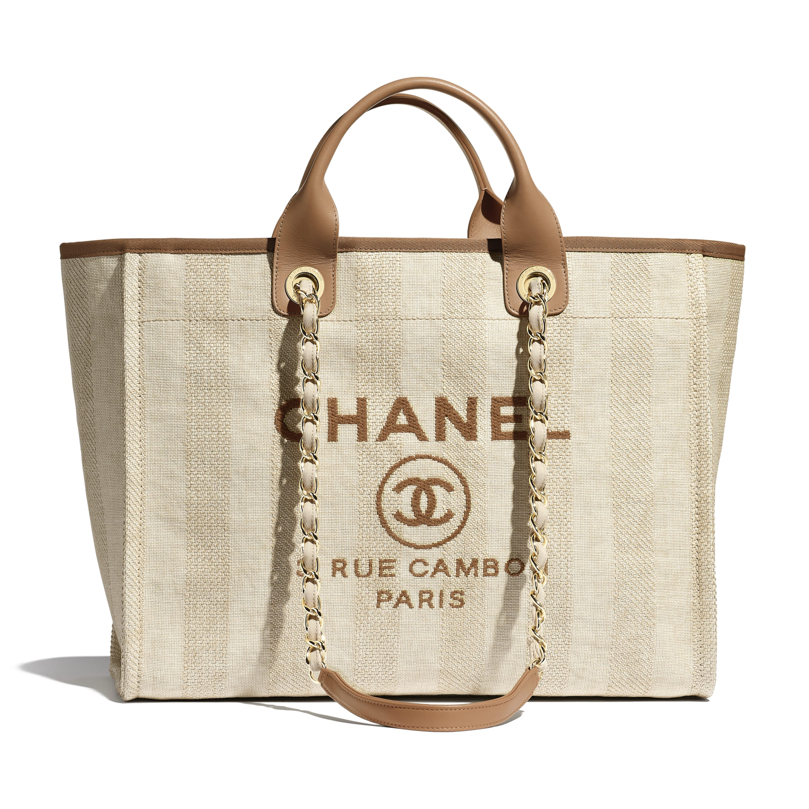 Shopping Bag - Beige - Mixed Fibres, Calfskin & Gold-Tone Metal - CHANEL - Default view - see standard sized version