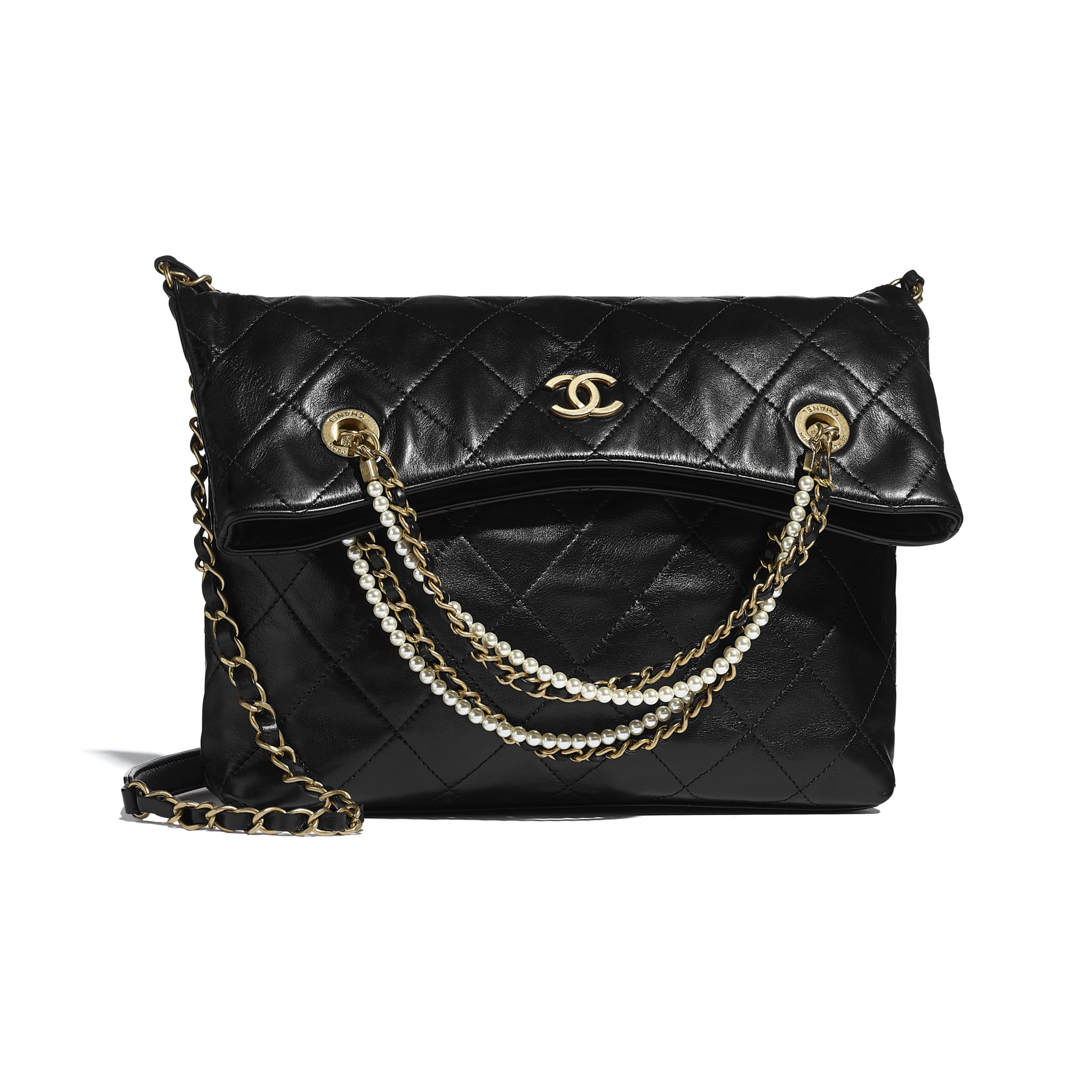 Shopping Bag - Black - Calfskin, Crystal Pearls & Gold-Tone Metal - CHANEL - Default view - see standard sized version