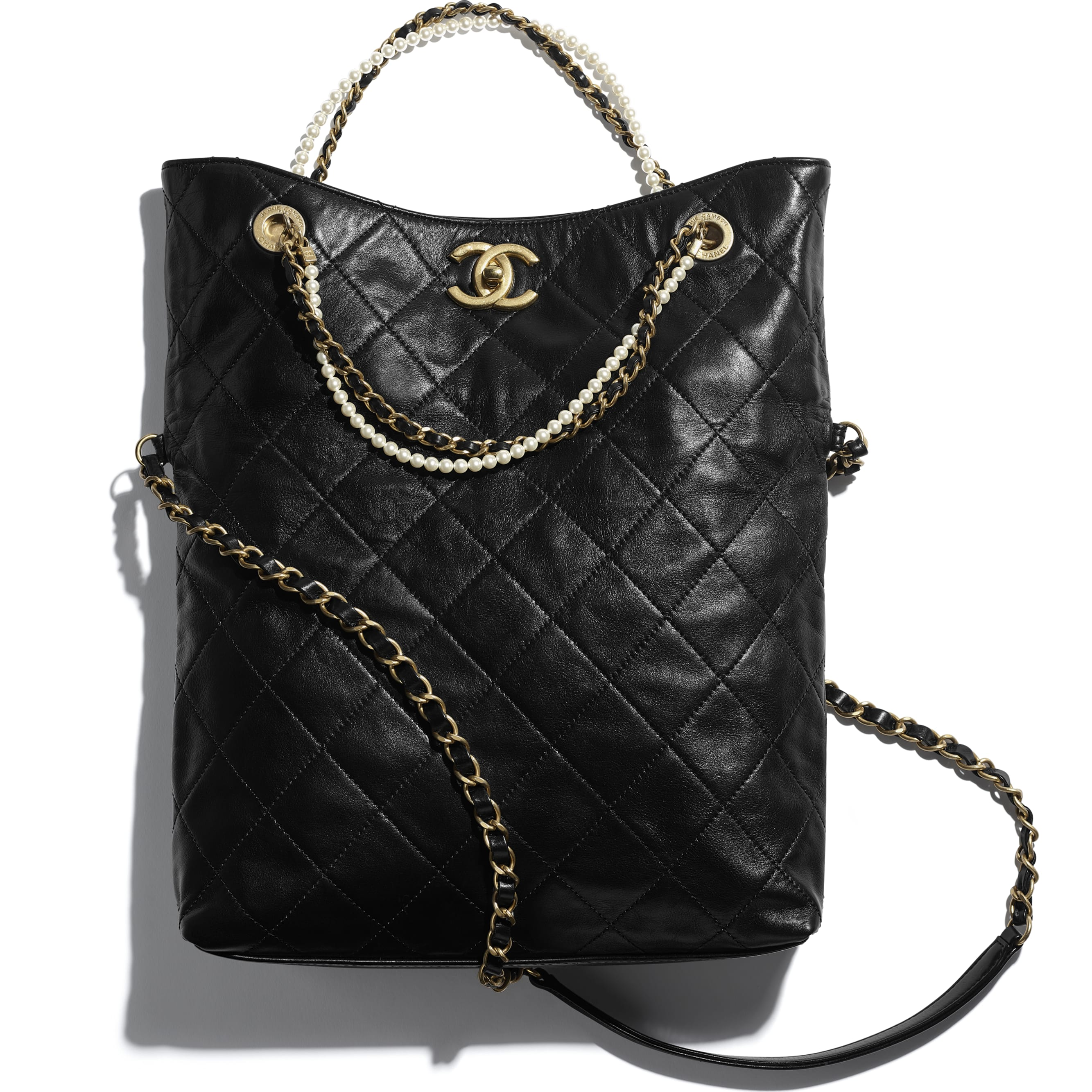 Shopping Bag - Black - Calfskin, Crystal Pearls & Gold-Tone Metal - CHANEL - Extra view - see standard sized version