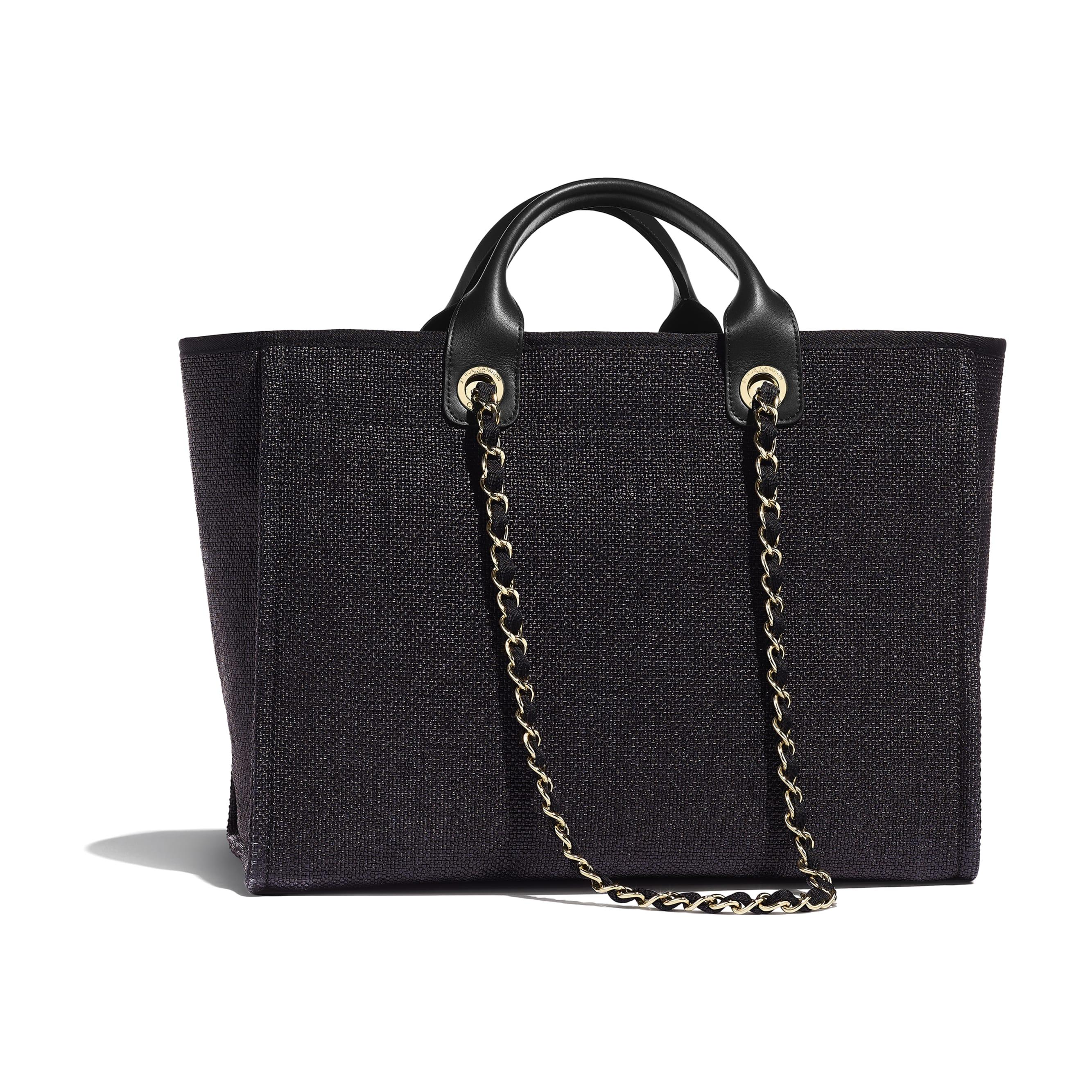 Shopping Bag - Black - Cotton, Nylon, Calfskin & Gold-Tone Metal - Alternative view - see standard sized version