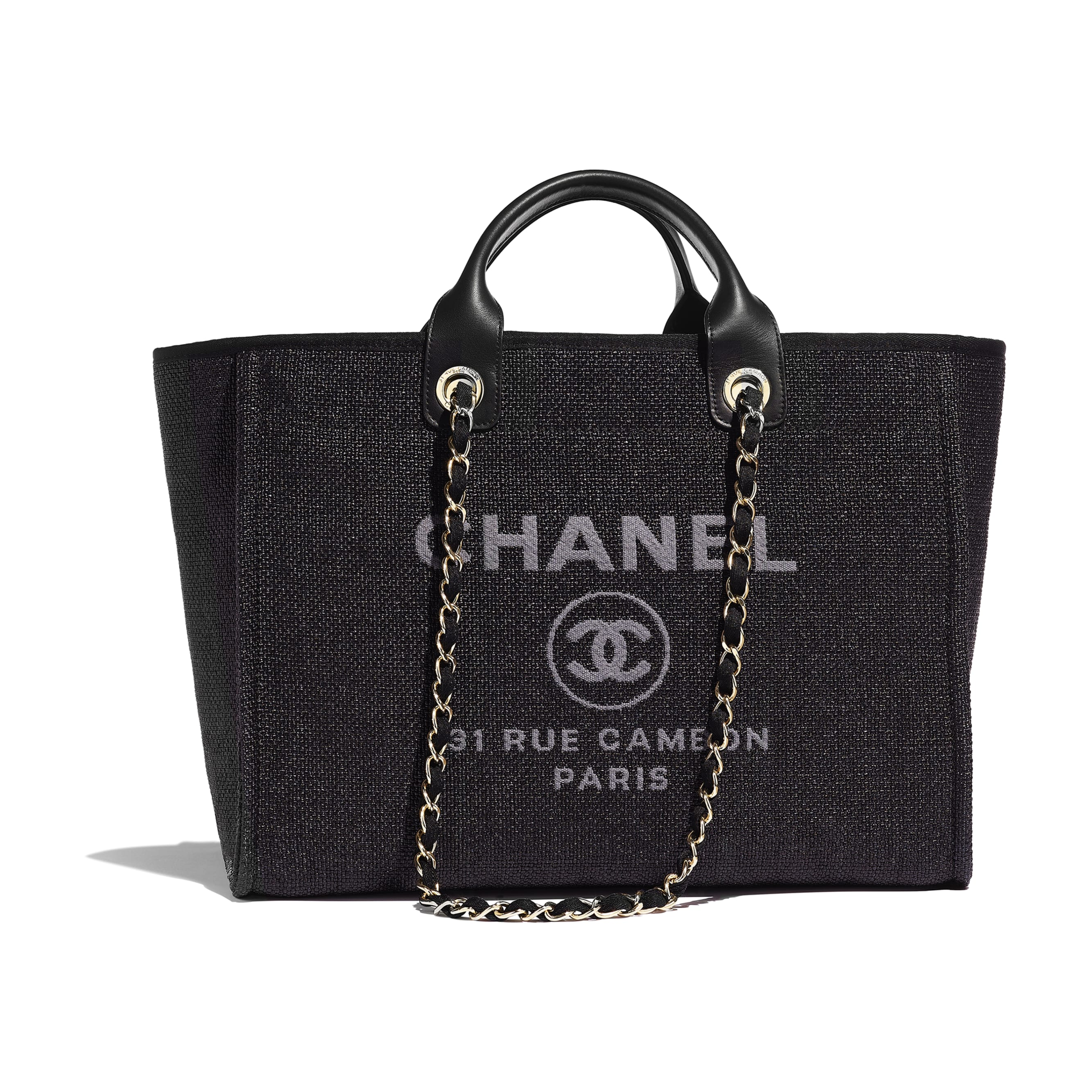 Shopping Bag - Black - Cotton, Nylon, Calfskin & Gold-Tone Metal - Default view - see standard sized version