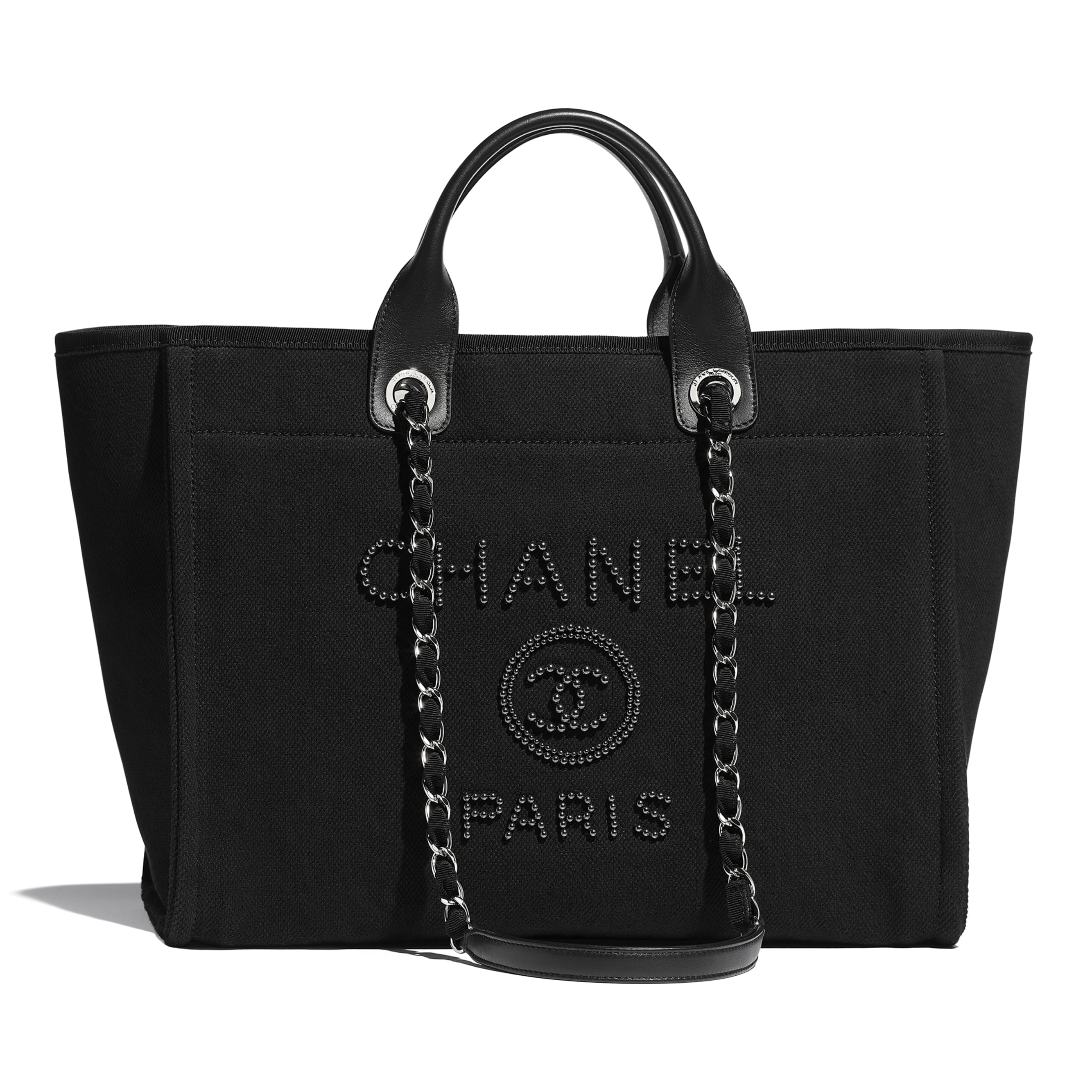 Shopping Bag - Black - Mixed Fibers, Imitation Pearls, Silver-Tone Metal - CHANEL - Default view - see standard sized version