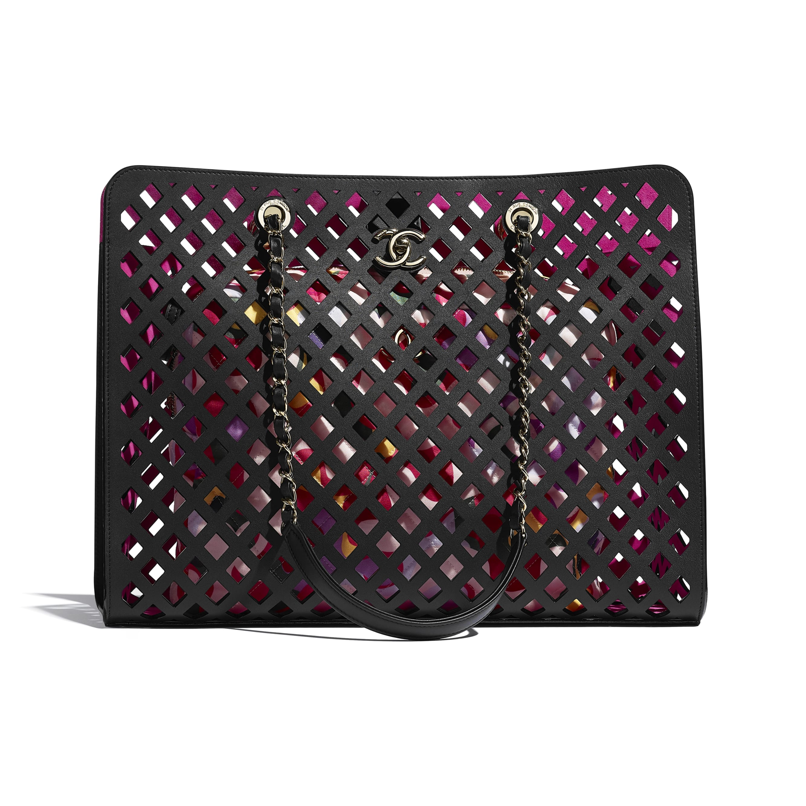 Shopping Bag - Black - Perforated Calfskin, Printed Fabric & Gold-Tone Metal - CHANEL - Default view - see standard sized version