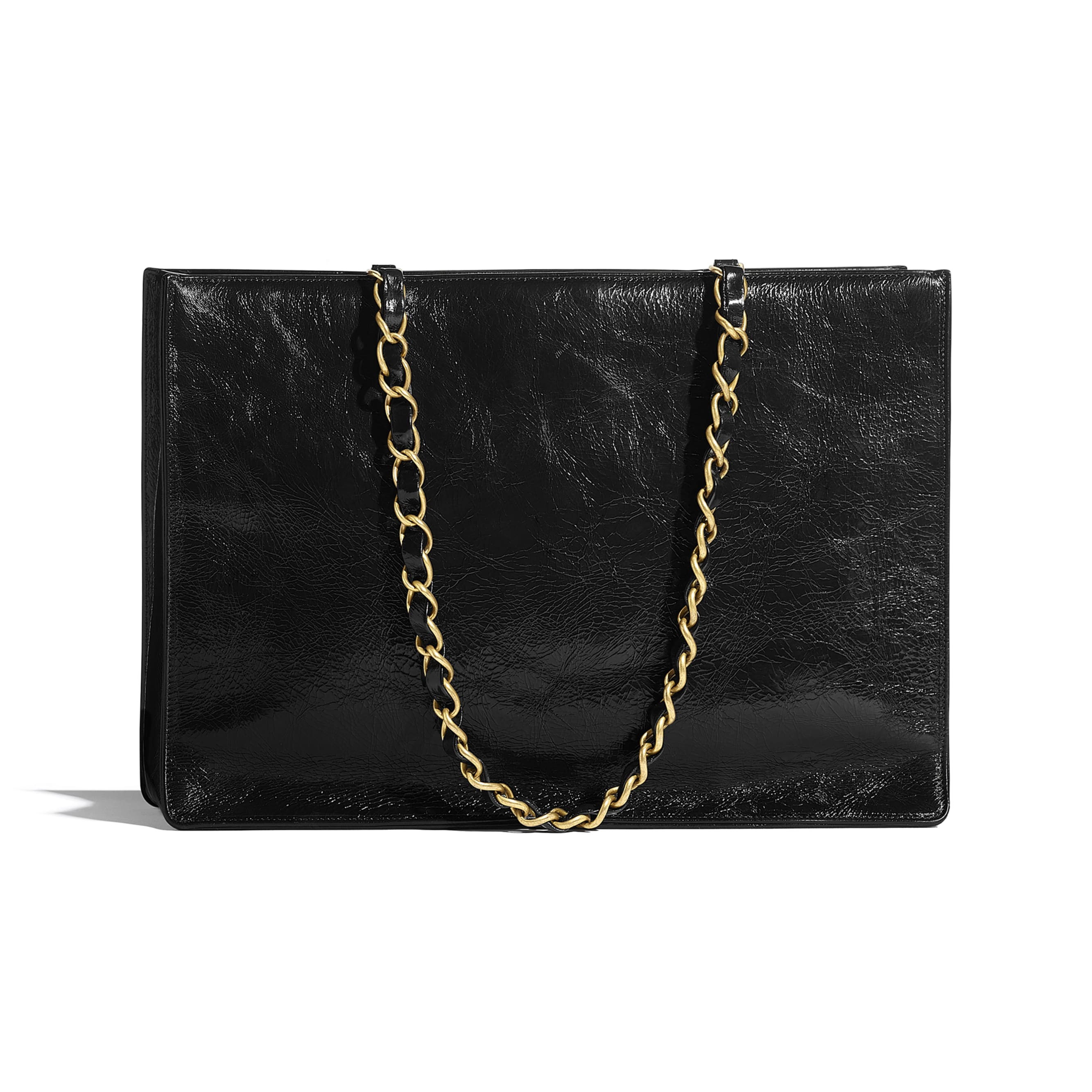 Shopping Bag - Black - Shiny Aged Calfskin & Gold-Tone Metal - CHANEL - Alternative view - see standard sized version