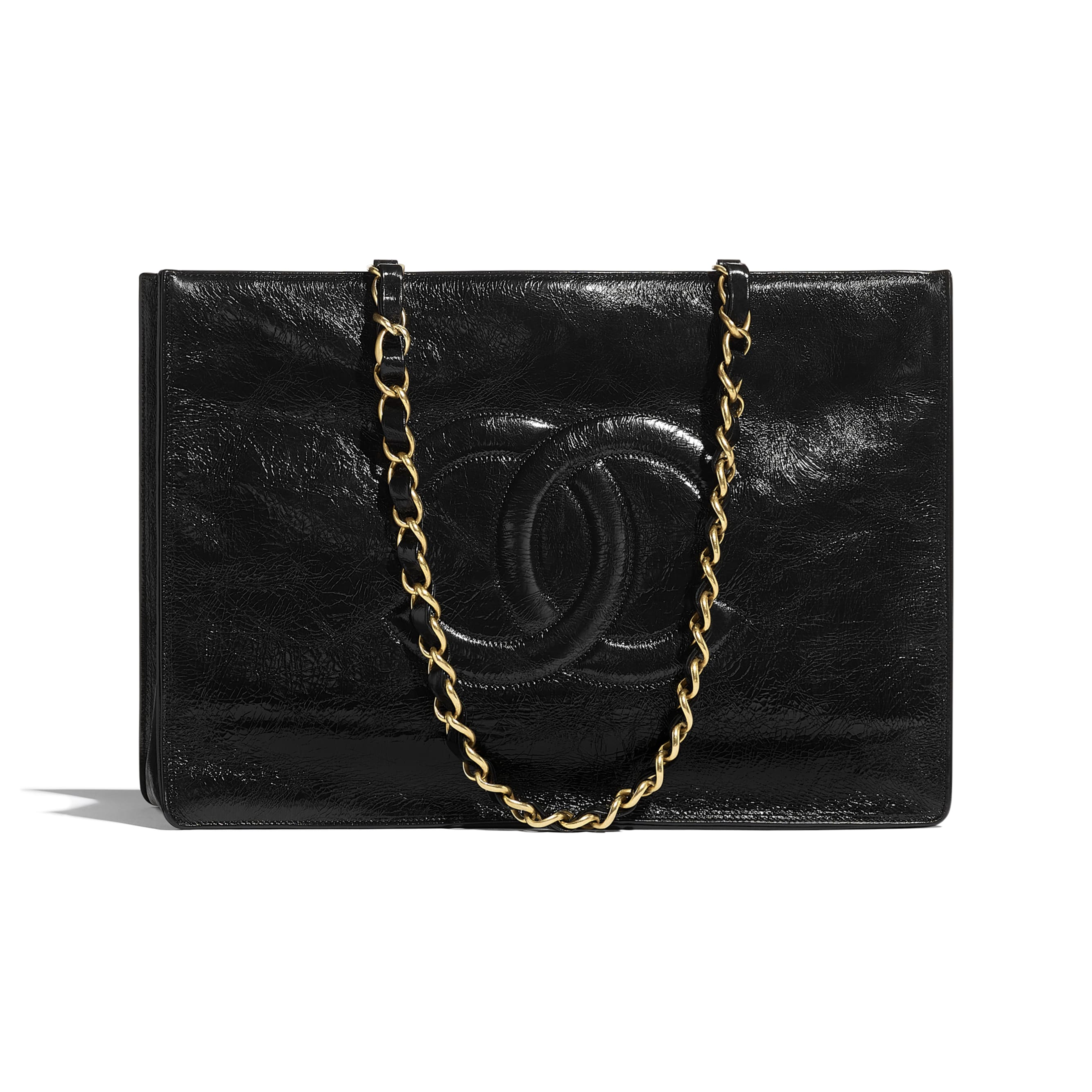 Shopping Bag - Black - Shiny Aged Calfskin & Gold-Tone Metal - CHANEL - Default view - see standard sized version