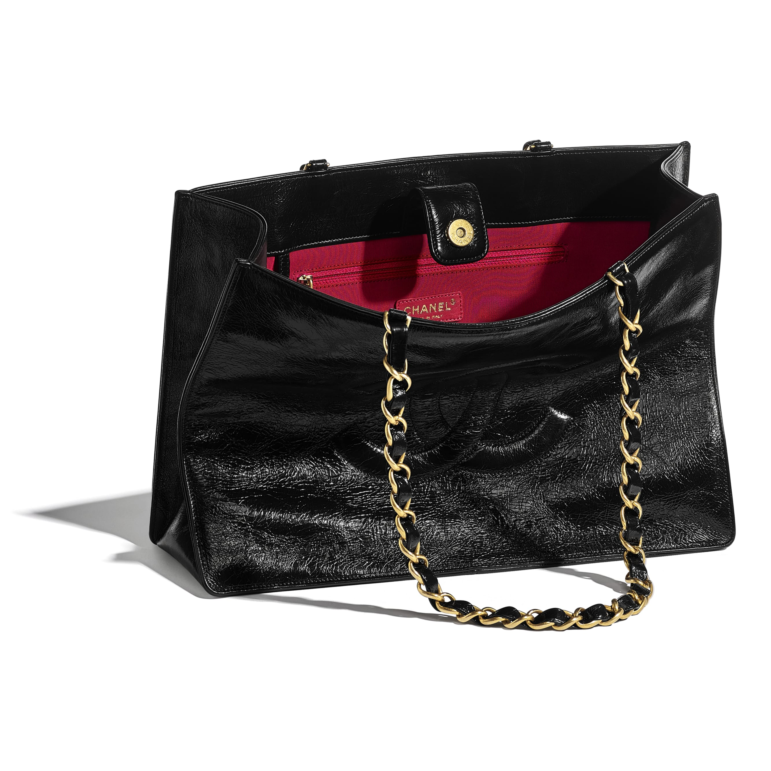Shopping Bag - Black - Shiny Aged Calfskin & Gold-Tone Metal - CHANEL - Other view - see standard sized version