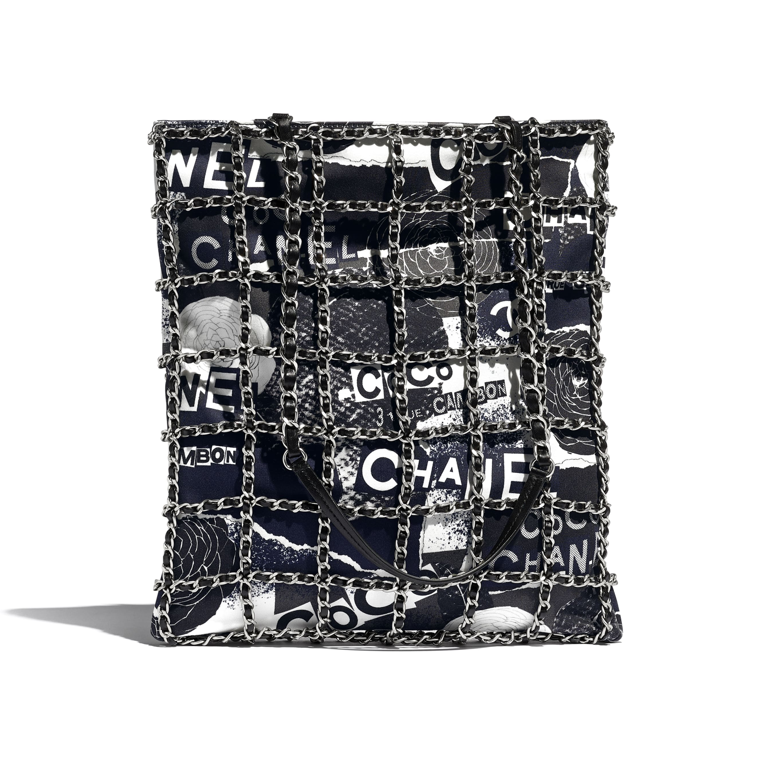 Shopping Bag - Black & White - Printed Cotton & Silver-Tone Metal - Alternative view - see standard sized version