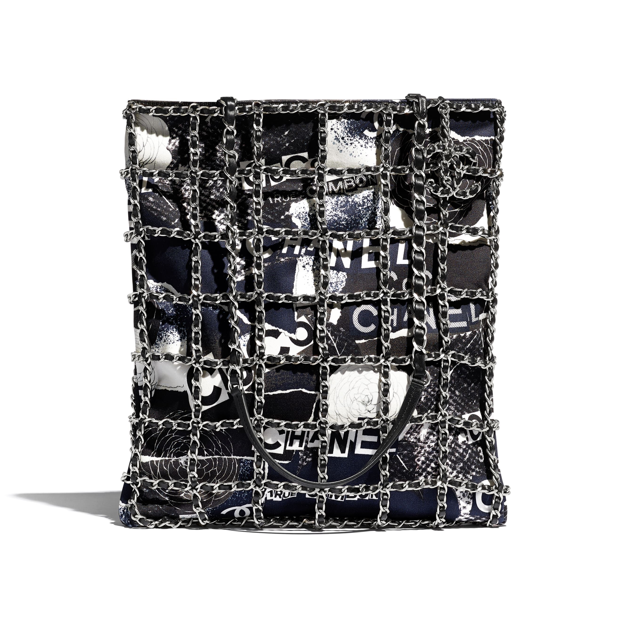 Shopping Bag - Black & White - Printed Cotton & Silver-Tone Metal - CHANEL - Default view - see standard sized version