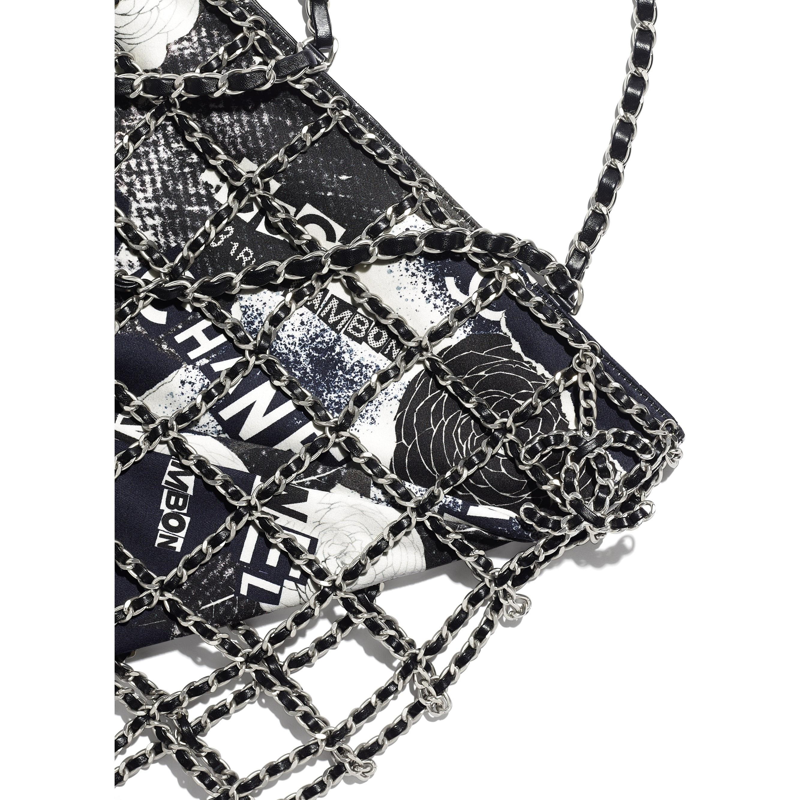 Shopping Bag - Black & White - Printed Cotton & Silver-Tone Metal - CHANEL - Extra view - see standard sized version